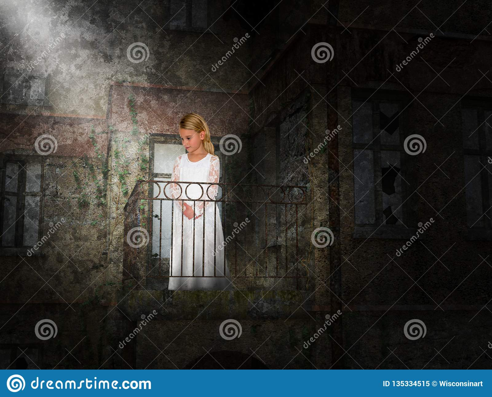 Chica joven, balcón, fantasía, imaginación