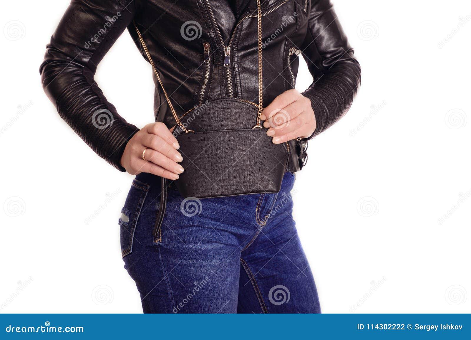 Que El Y Negra En Joven Vaqueros De Moda Sostienen Chica Chaqueta wnqx18Axf