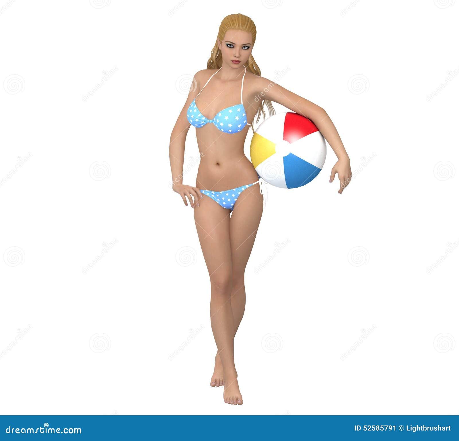 Con Joven La Bola Ilustración En De Stock Chica Bikini htQsCrd