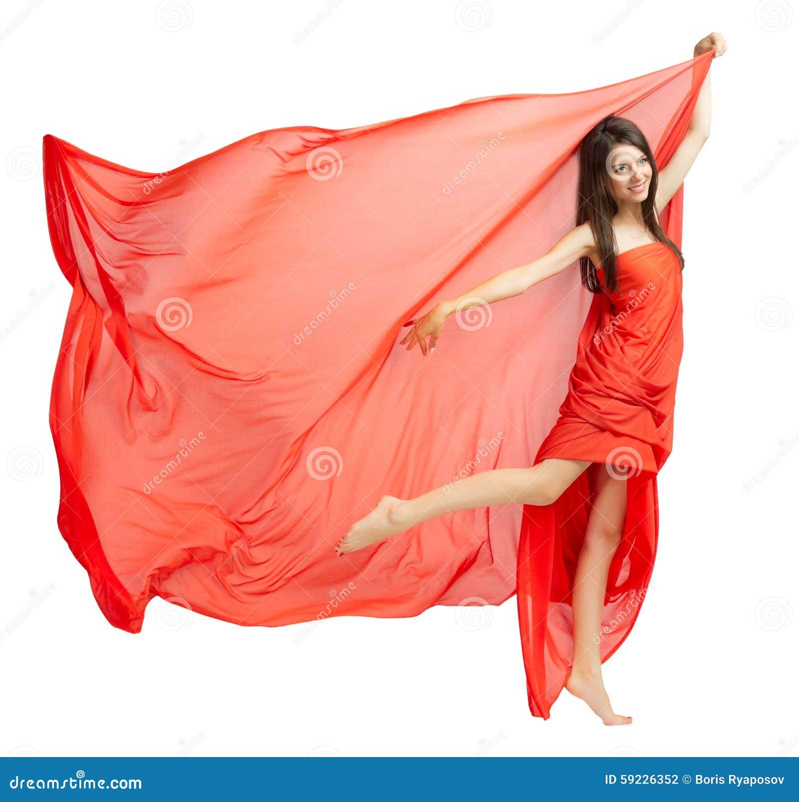 Chica joven en paño rojo