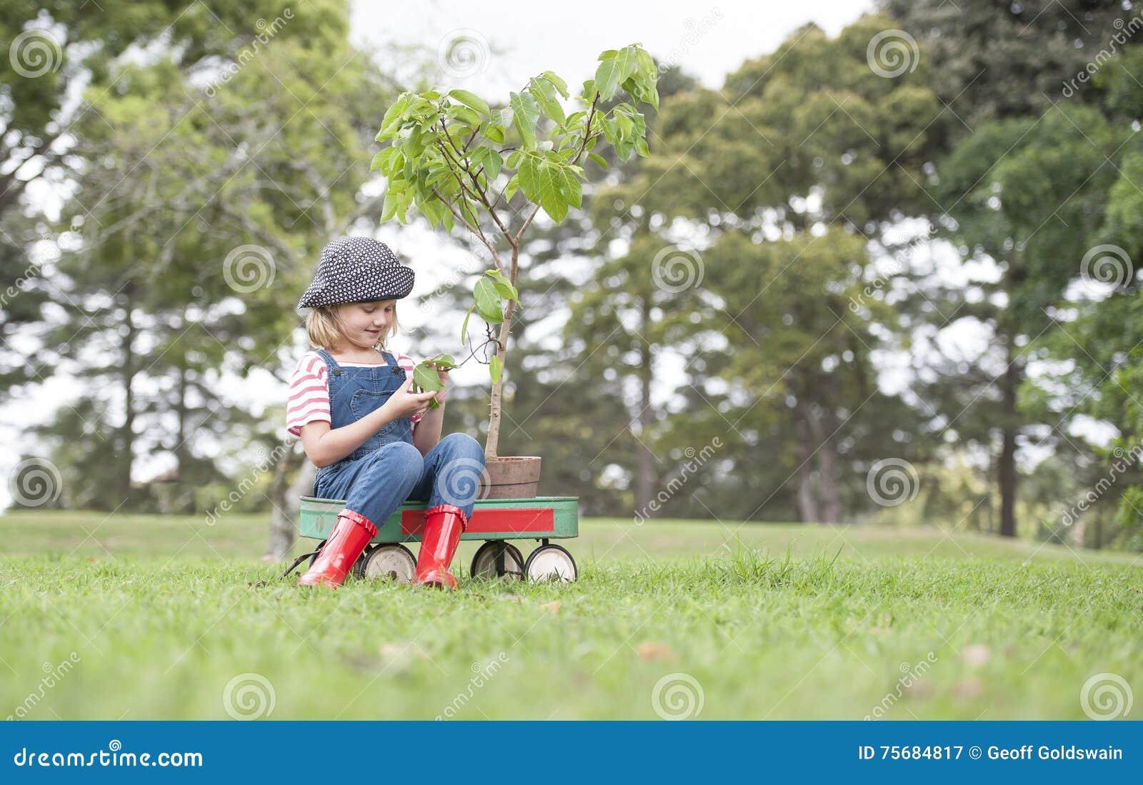 Chica joven que planta el árbol en el parque eco-enterado