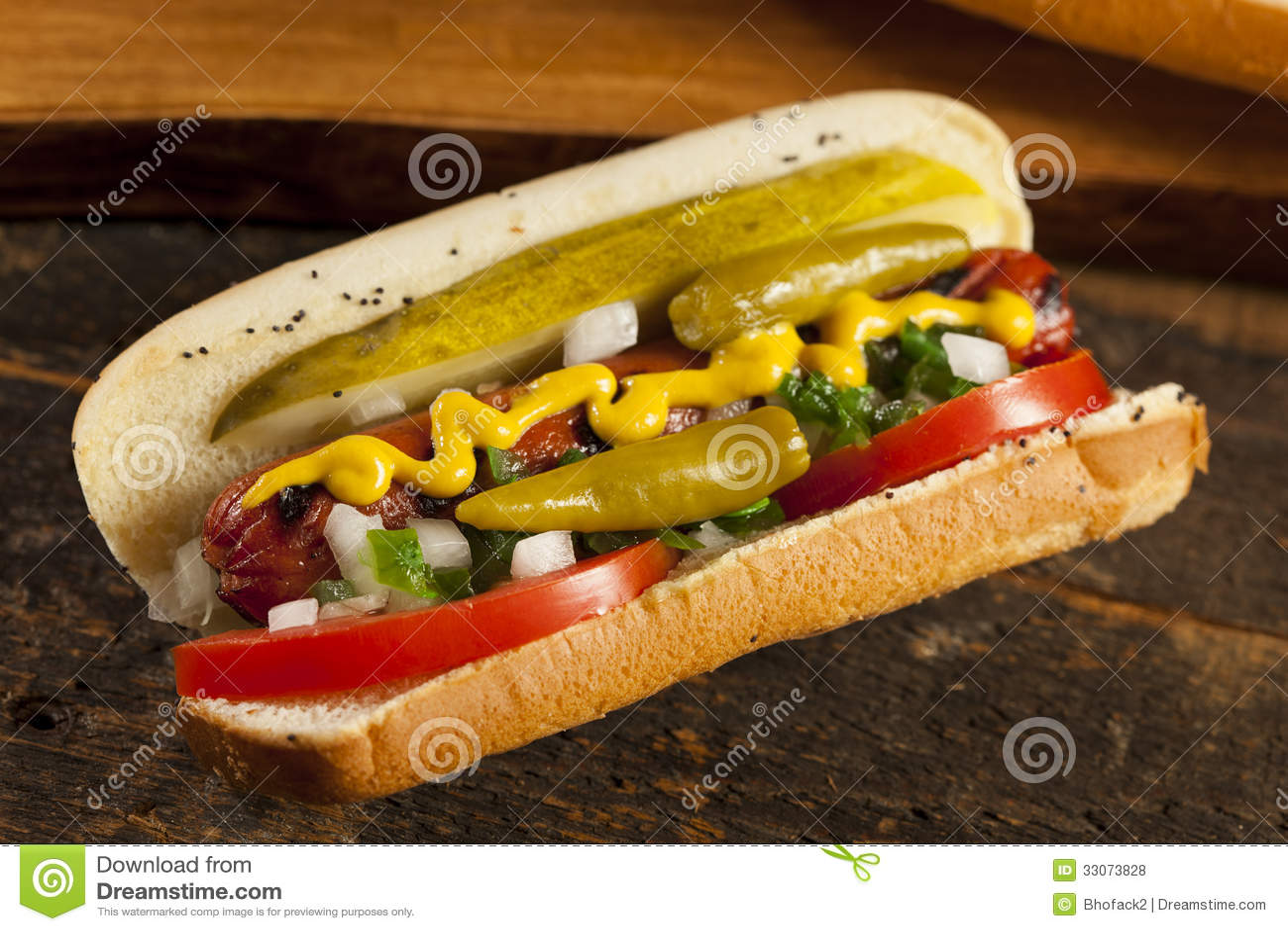 chicago art hotdog stockfoto bild von so e ketschup 33073828. Black Bedroom Furniture Sets. Home Design Ideas