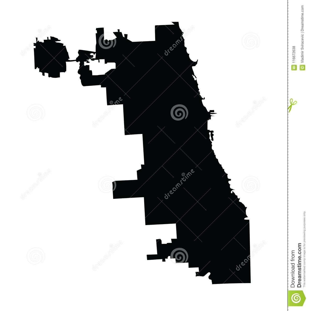 Map Of America Showing Chicago.Chicago City Map Silhouette Vector Map Illinois State City Chicago