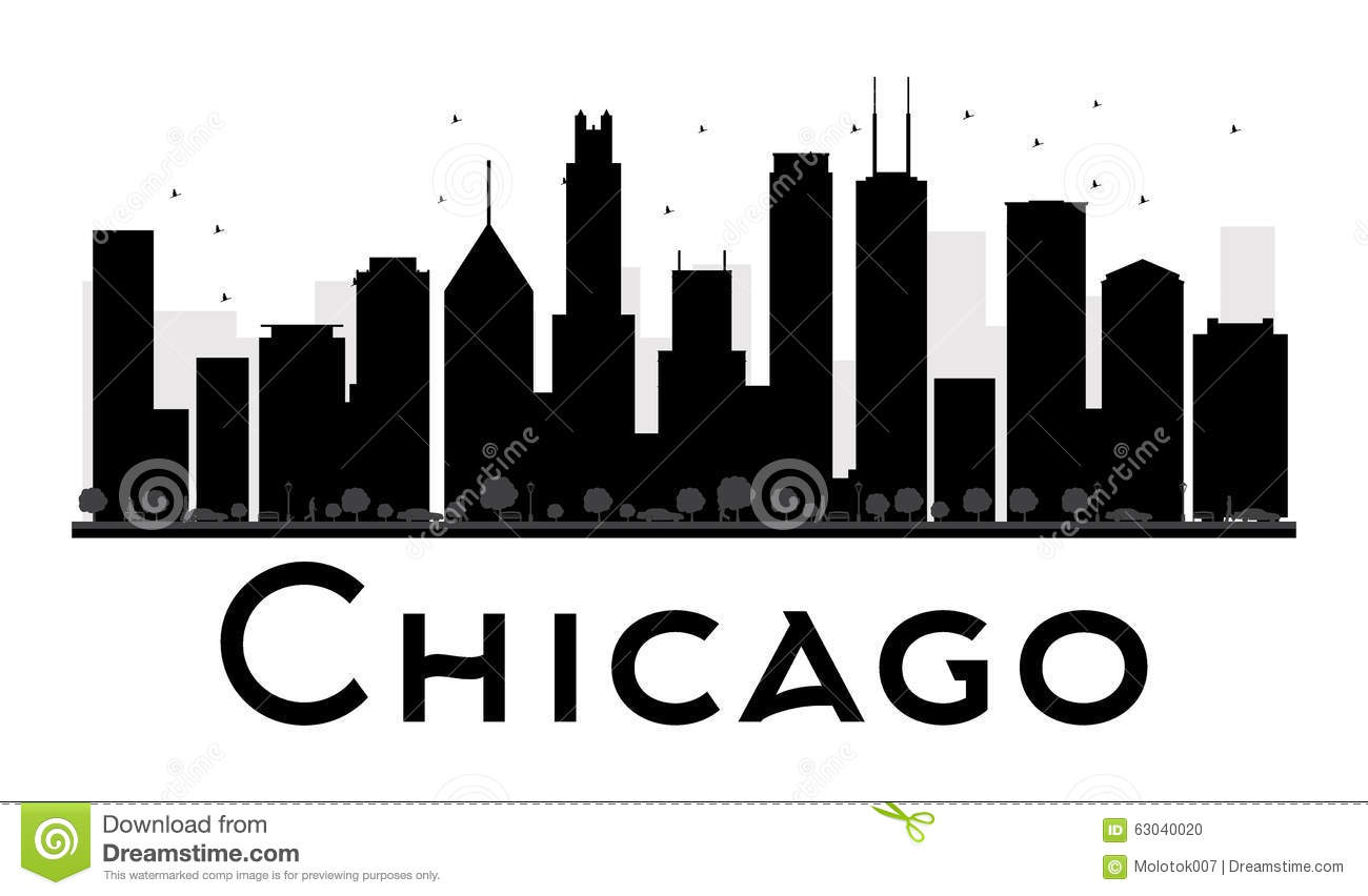 Chicago City Skyline Black And White Silhouette Vector Illustration Simple Flat Concept For Tourism