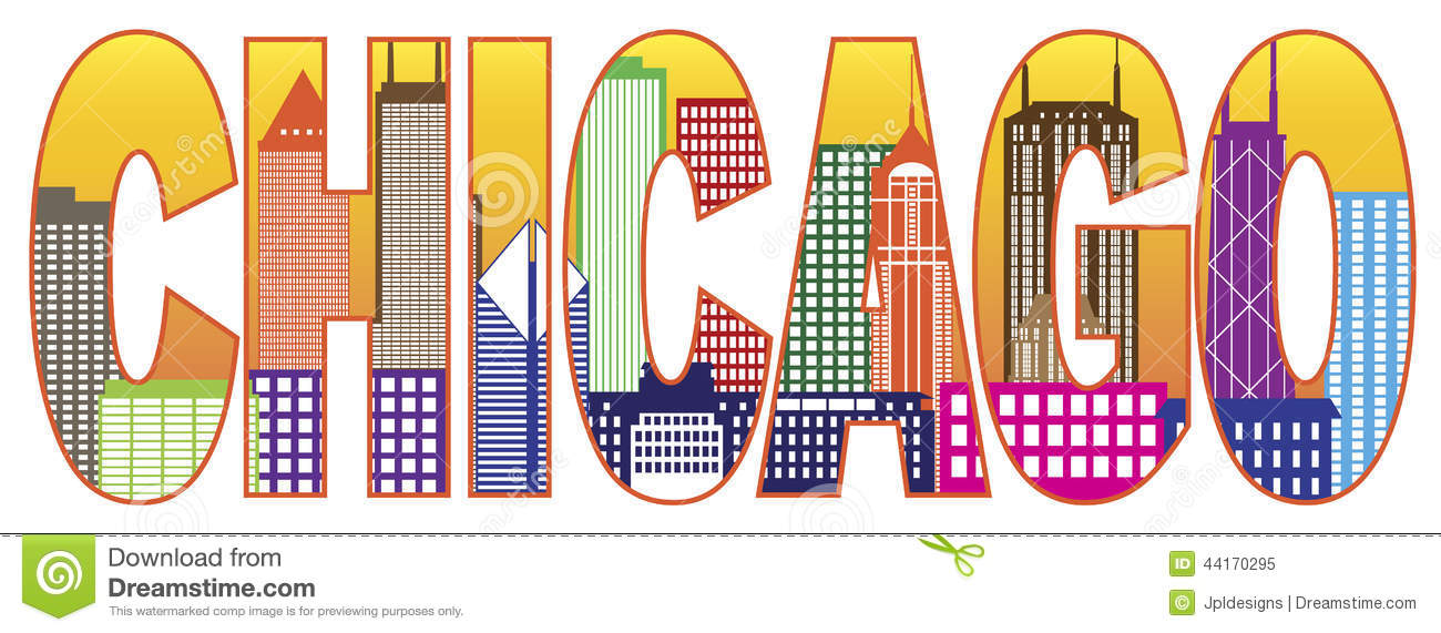 Chicago City Skyline Color Text Vector Illustratio Stock ...