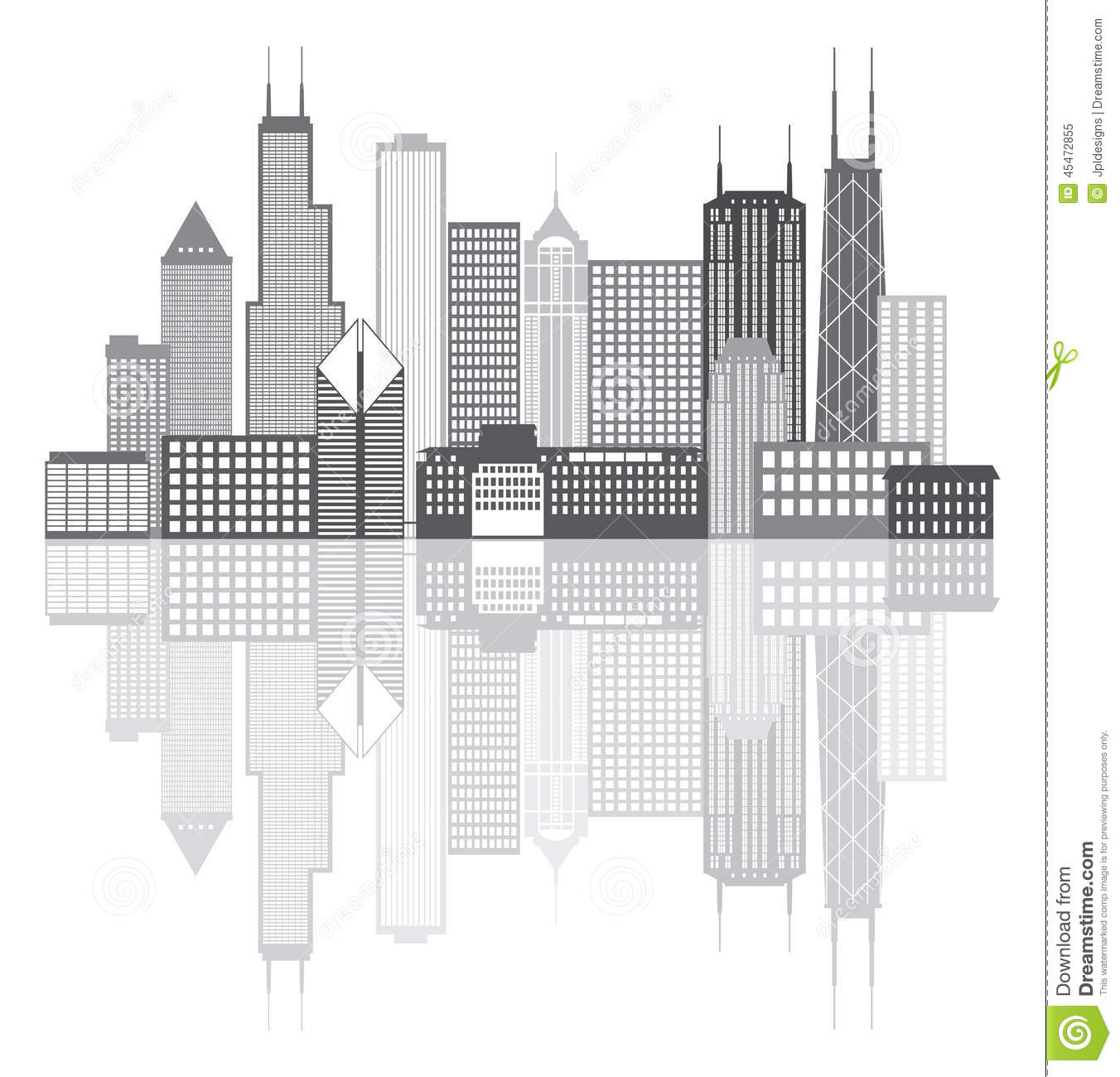 Drawing Lines Of Reflection : Chicago city skyline grayscale vector illustration stock