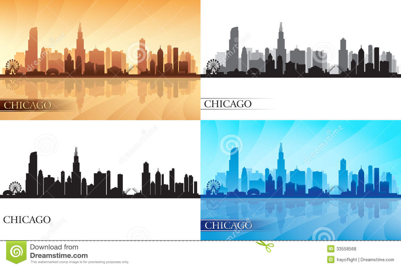 Chicago City Skyline Silhouettes Set Stock Vector Image