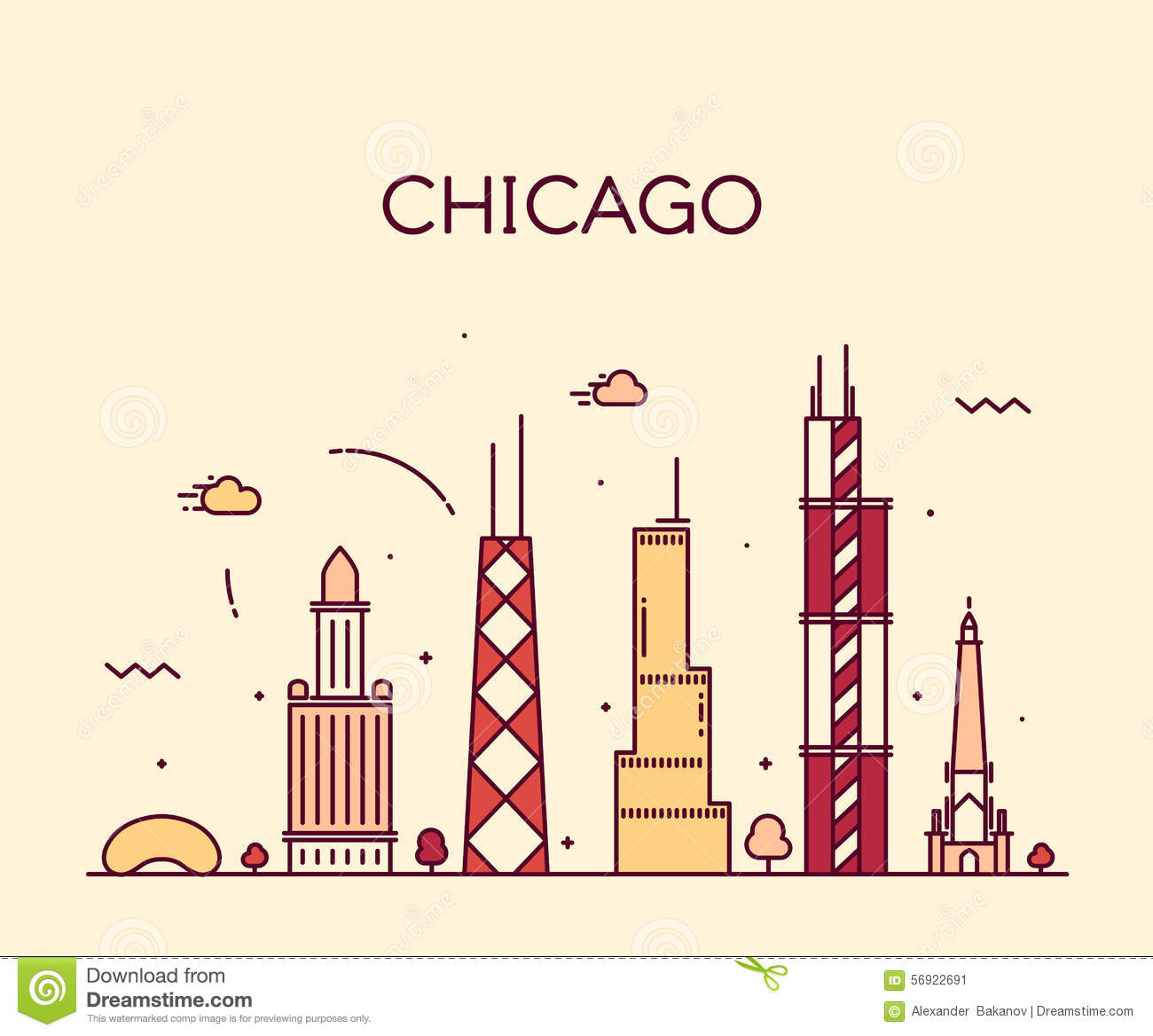Line Art Illustration Style : Chicago city skyline trendy vector line art stock