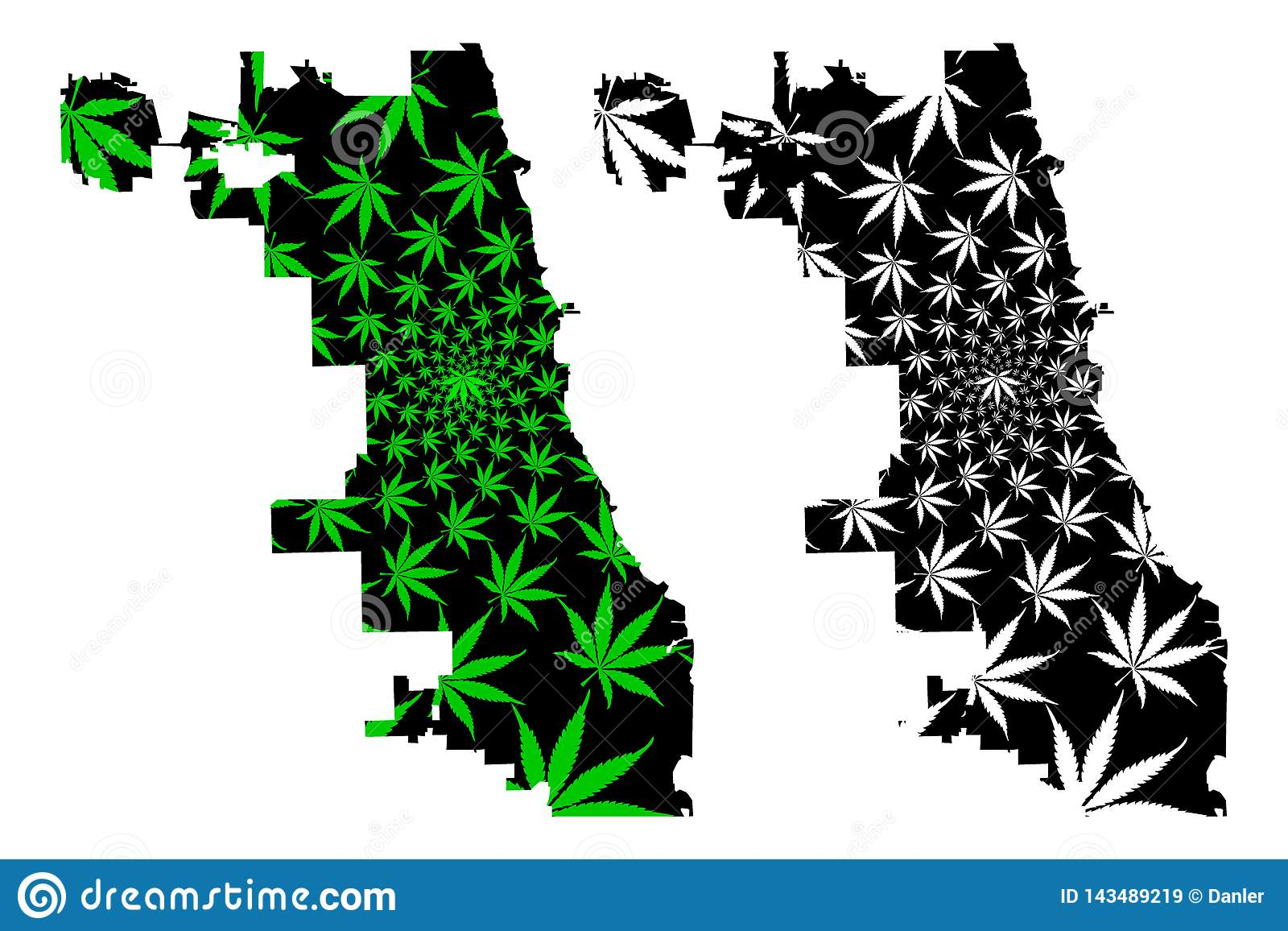 Chicago City - Map Is Designed Cannabis Leaf Stock Vector ...