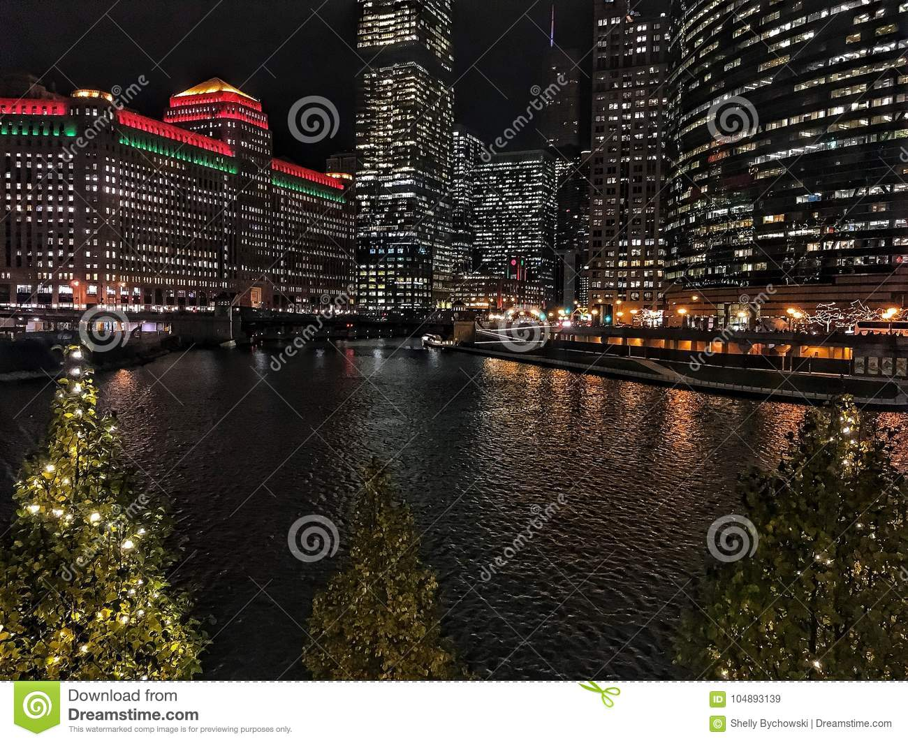 Christmas In Chicago Skyline.Chicago Cityscape Illuminated With Christmas Holiday