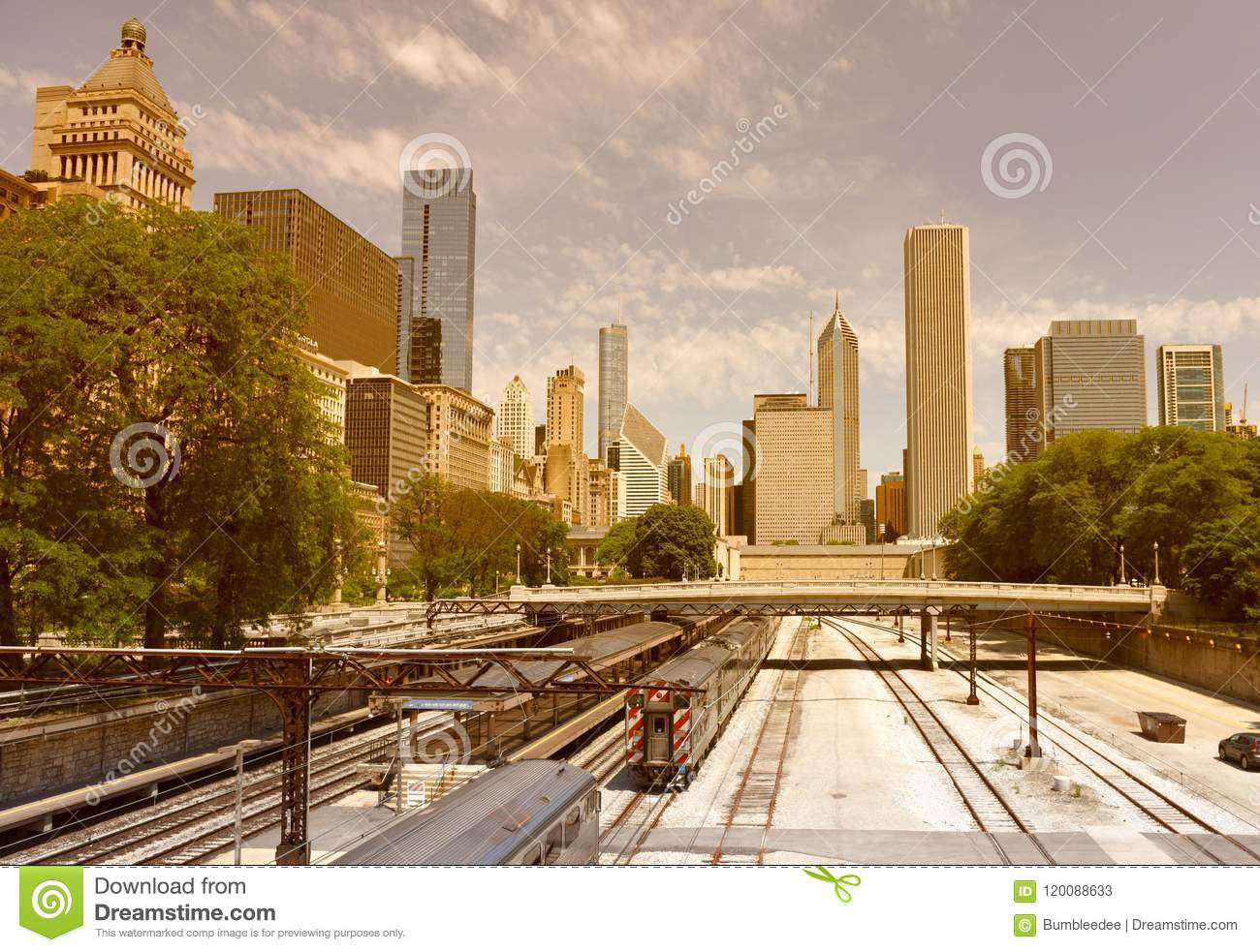 Chicago Cityscape With A Trains On The Station In Downtown , US