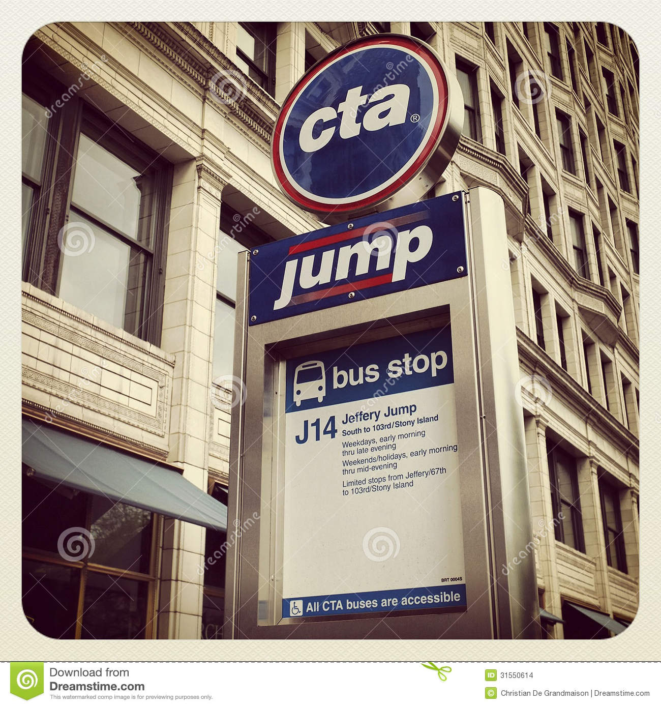Chicago CTA bus sign editorial stock image  Image of train