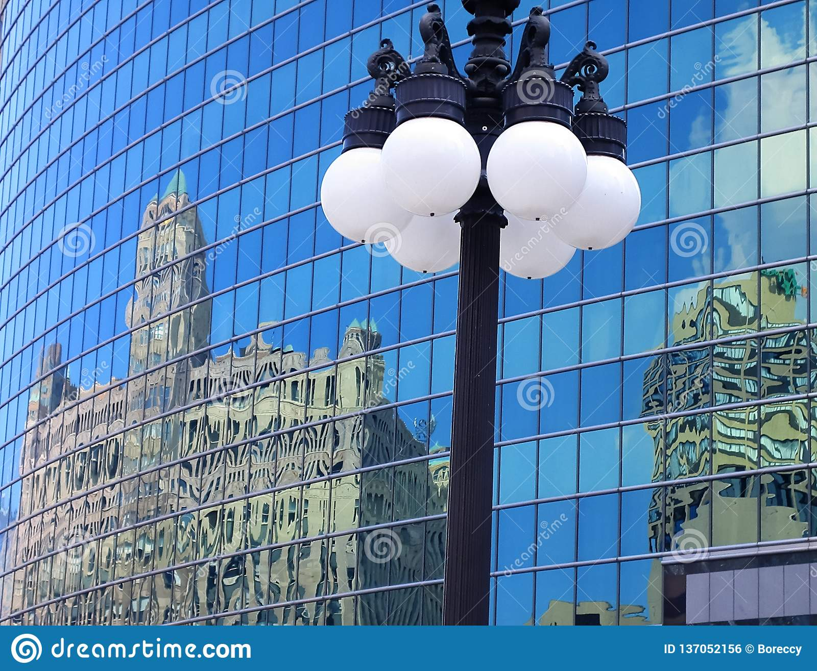 Reflections of architecture in a modern building of Chicago