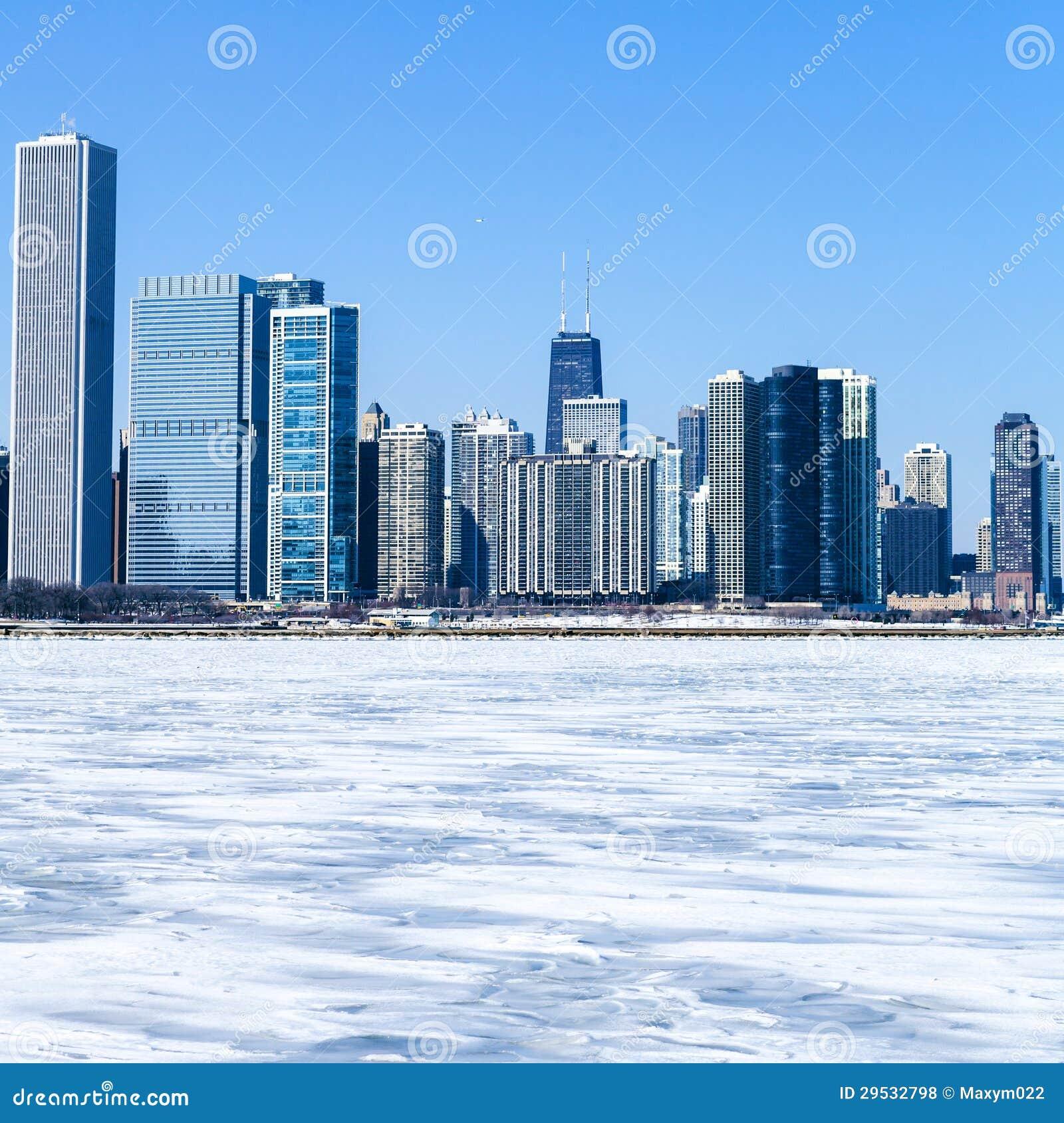 Chicago do centro no inverno