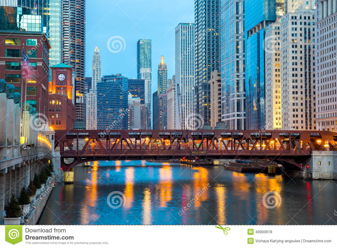 Chicago Downtown And River Stock Photo. Image Of Financial