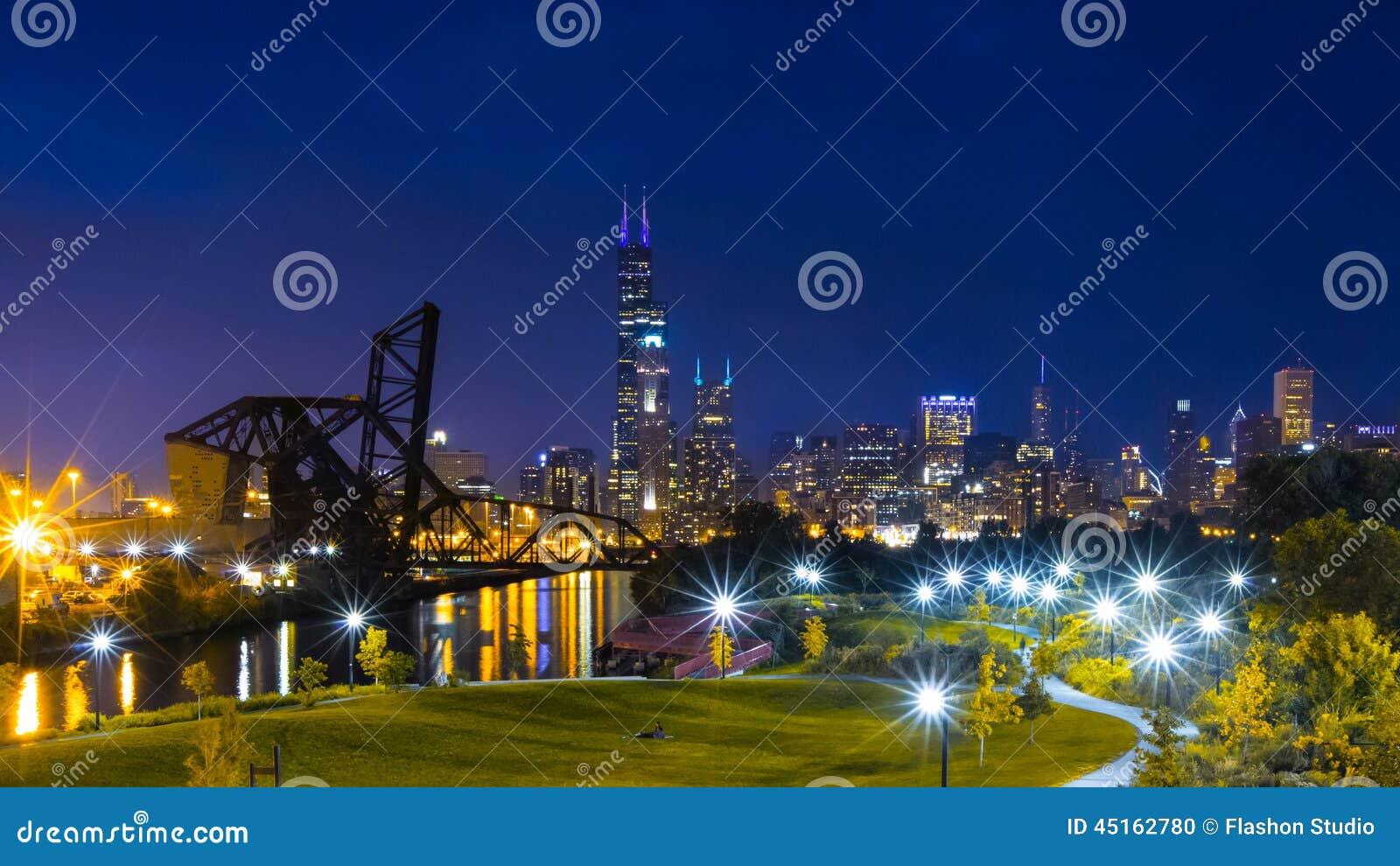 Chicago Downtown Skyline Night Scene Stock Photo Image