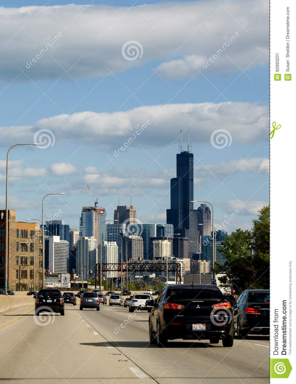 Chicago Drive And View From Interstate I94 Editorial Photo