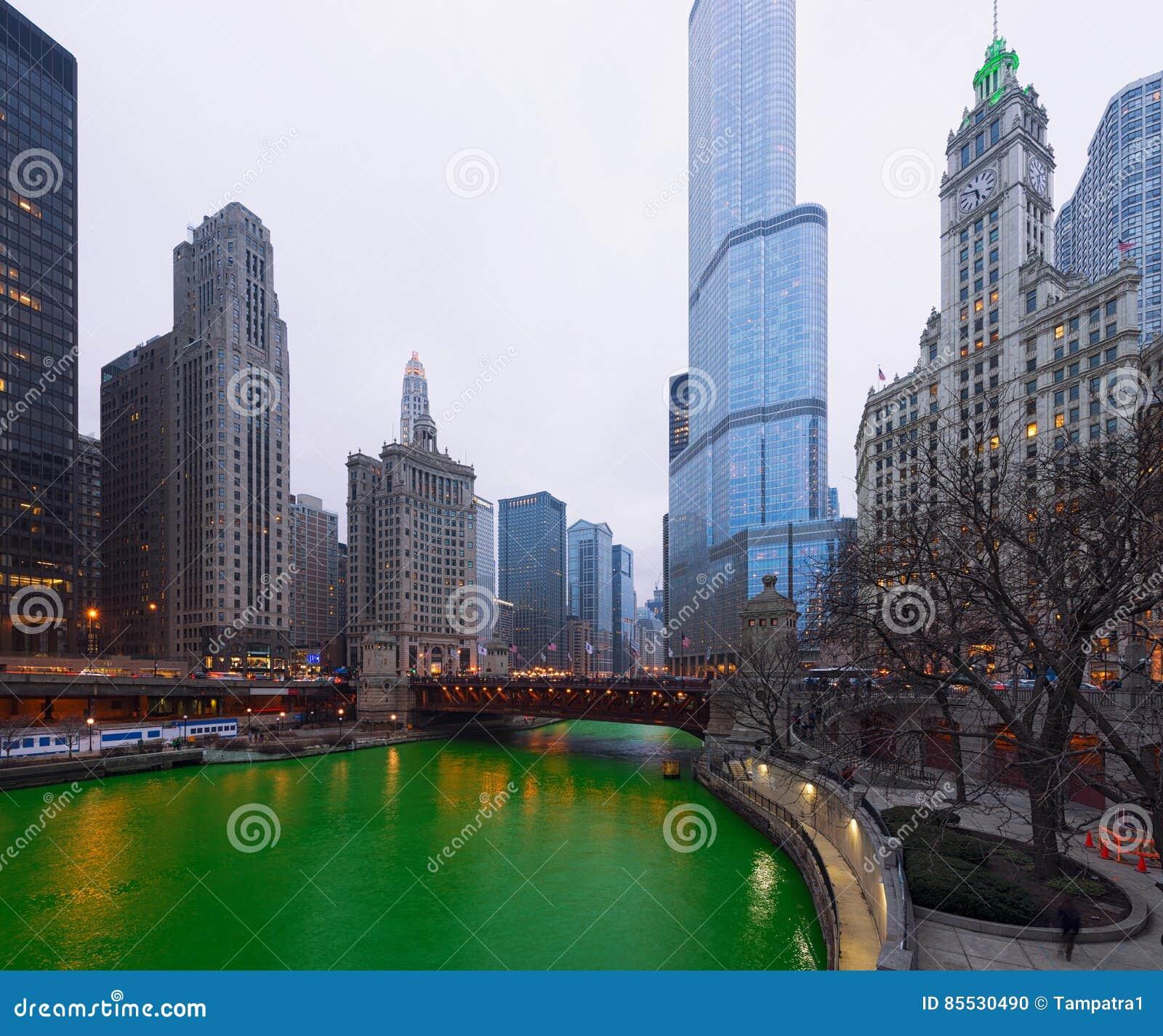 Chicago för dag för St Patrick ` s stad, Green River, Illinois, USA