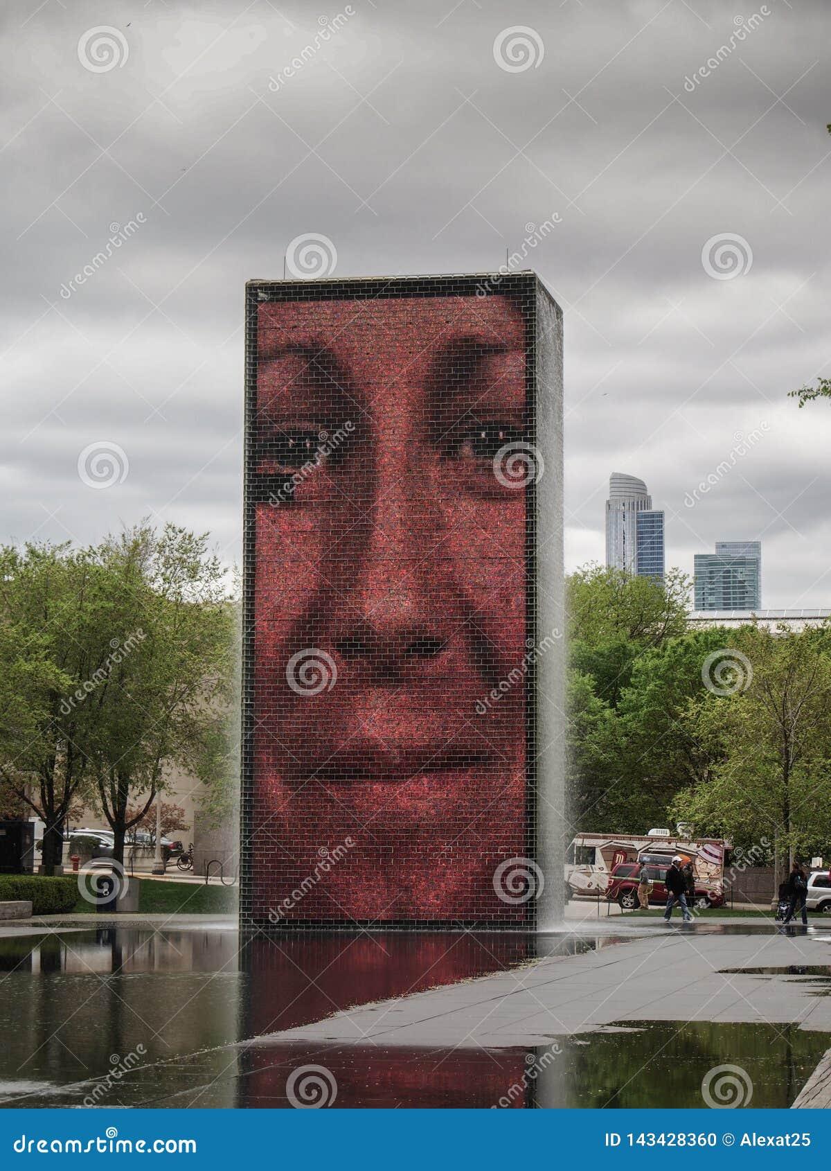 Chicago - Förenta staterna - kronaspringbrunnen av konstnären Jaume Plensa i millenium parkerar