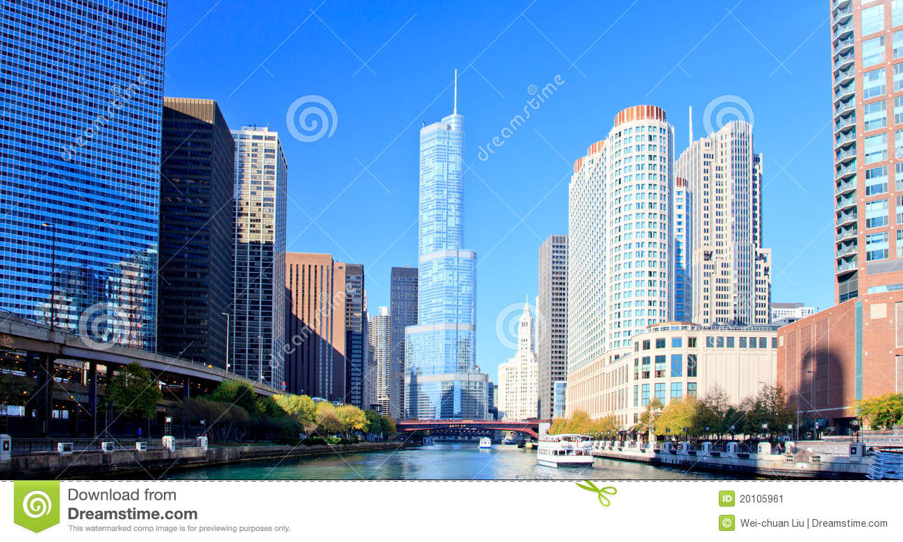 Chicago Financial District Stock Image. Image Of Building