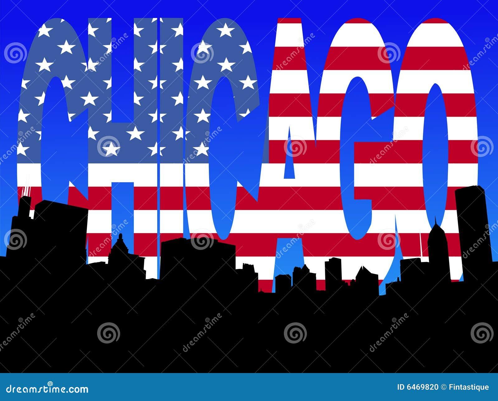 Chicago flagi skyline tekst