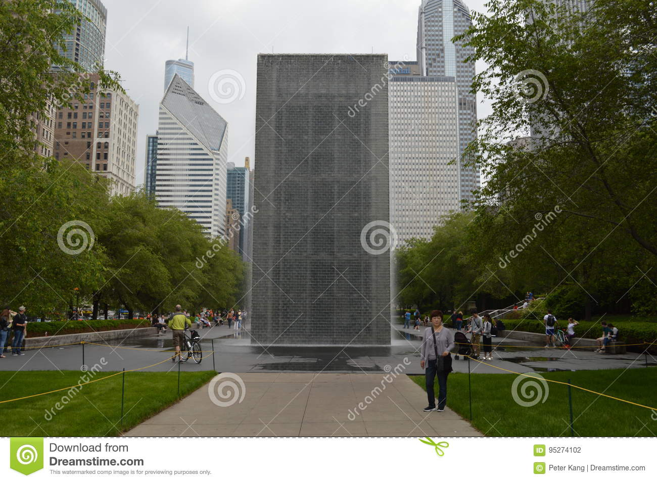 chicago grant park waterfall monolith editorial photography image
