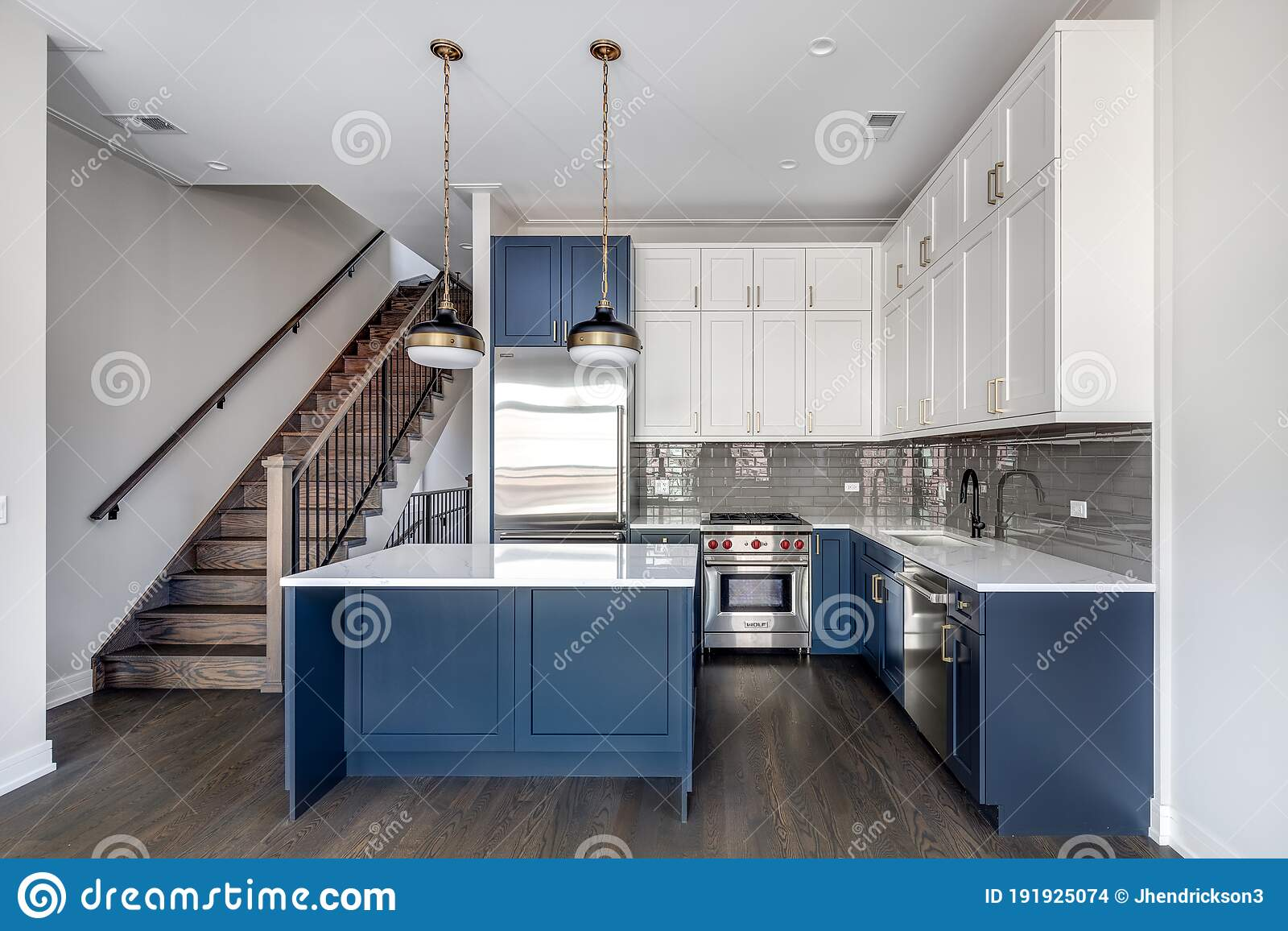 A Modern White And Blue Kitchen With The Lights Off Editorial Stock Image Image Of Indoors Architecture 191925074