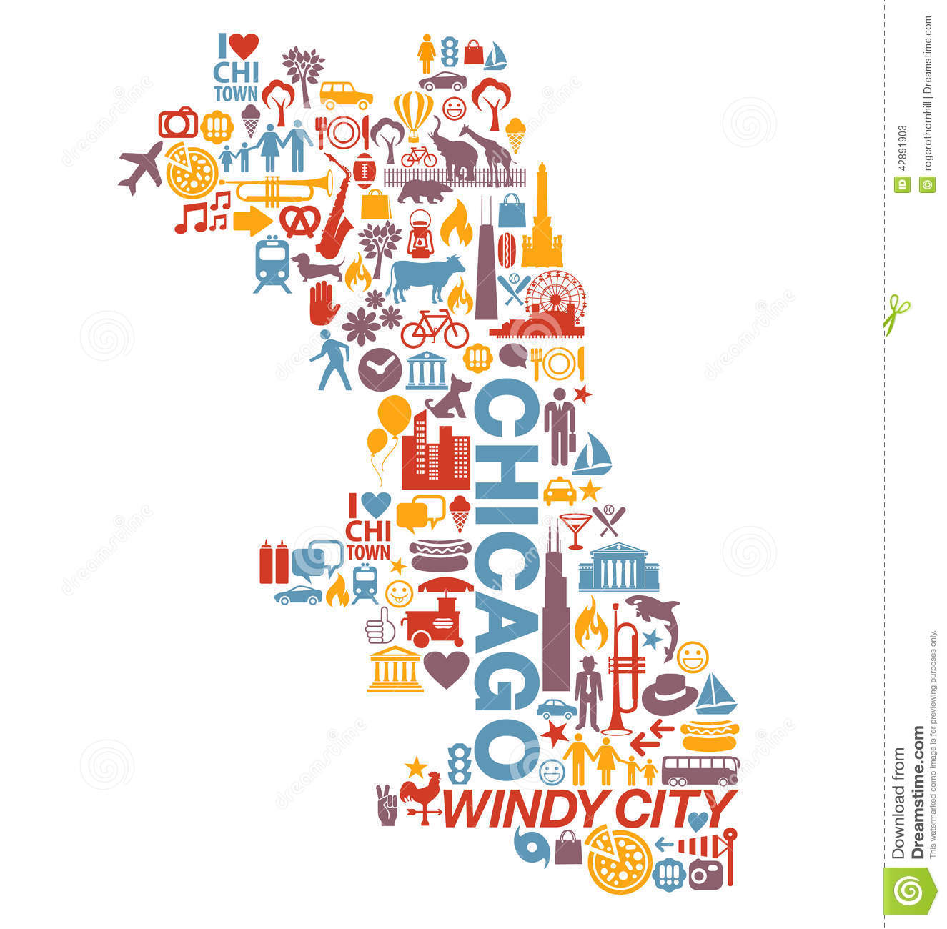 Chicago Illinois City Icons And Attractions Map Stock Vector - Chicago map attractions