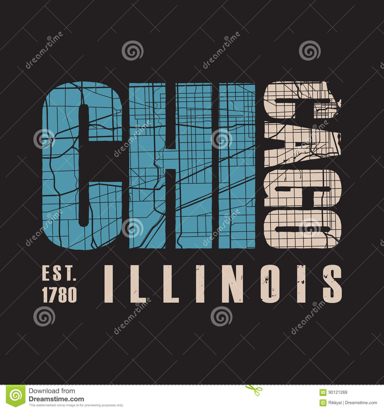 a2655a50 Chicago Illinois T Shirt Print. Vector Illustration. Stock Vector ...