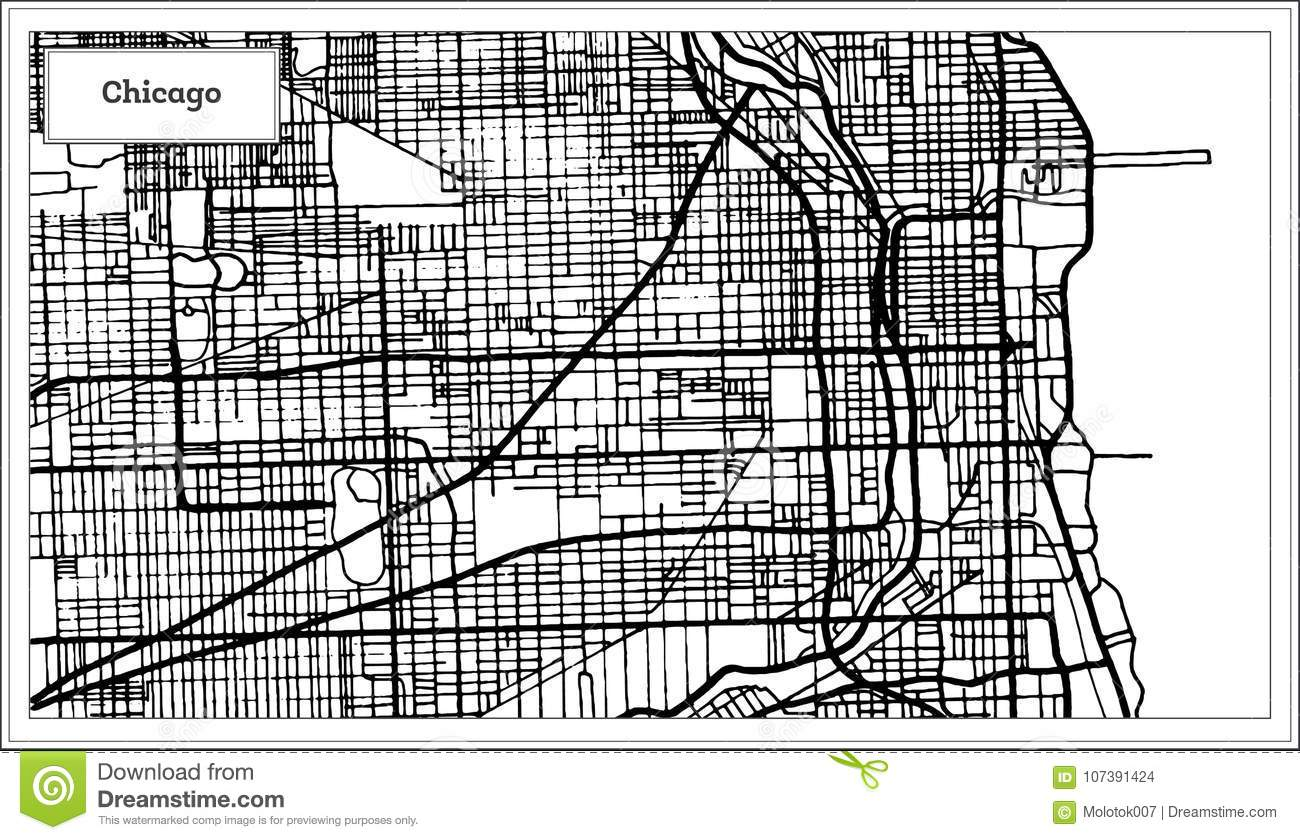 Chicago Illinois USA Map In Black And White Color. Stock Vector ...