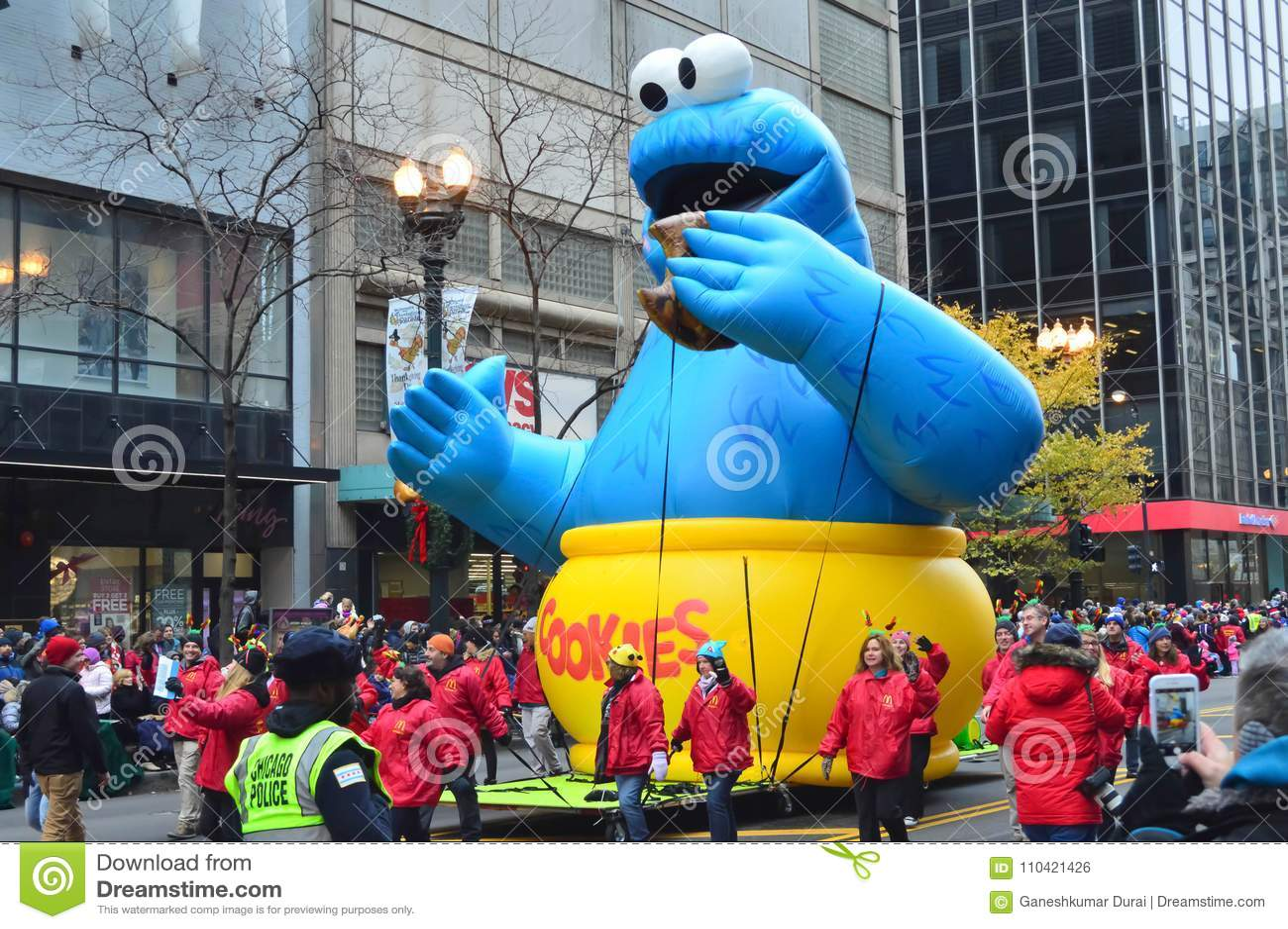 Chicago, Illinois - USA - November 24, 2016: Cookie Monster Balloon in McDonald`s Thanksgiving Street Parade