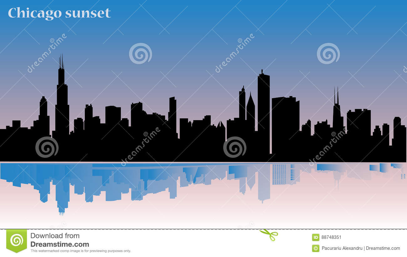 245c9fa42d Chicago illustration - sunset - building reflexion in water - significant  buildings from this town
