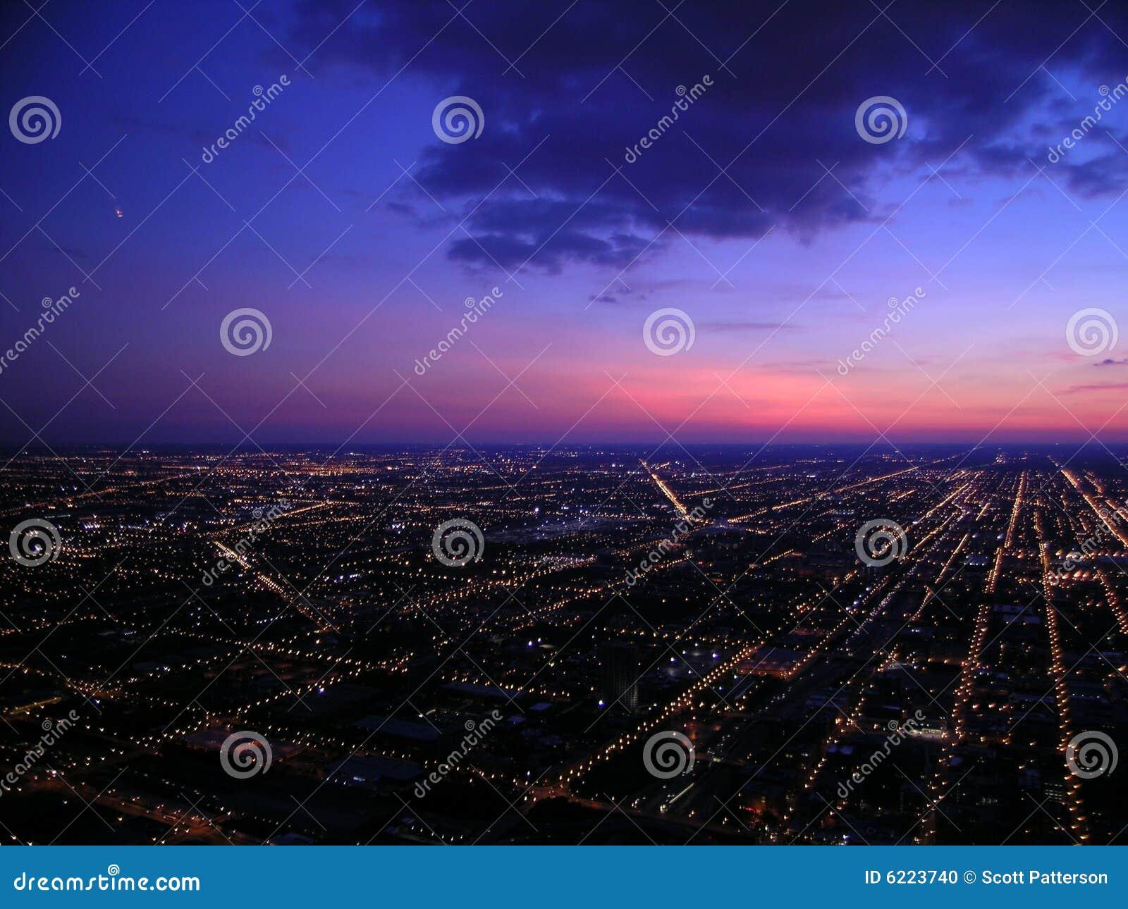 Chicago la nuit, vue aérienne