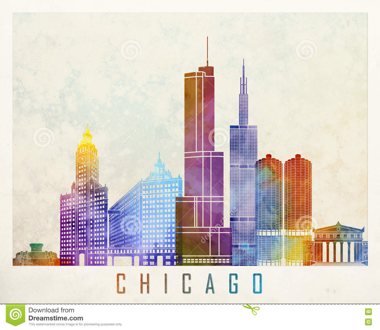 Poster With Map Of Chicago Landmarks Stock Vector Image - Chicago el map poster