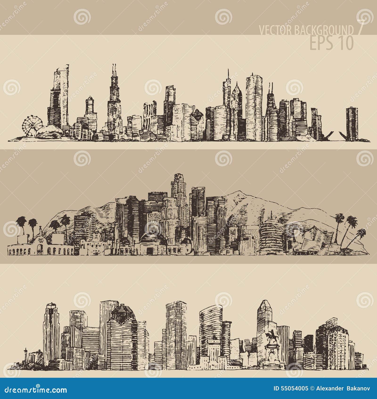 Chicago, Los Angeles, Houston Big City Engraved Stock