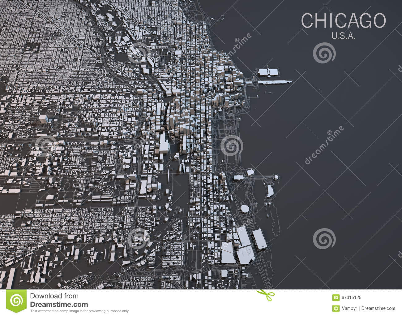 Chicago Map Satellite View United States Stock Illustration - Chicago map download