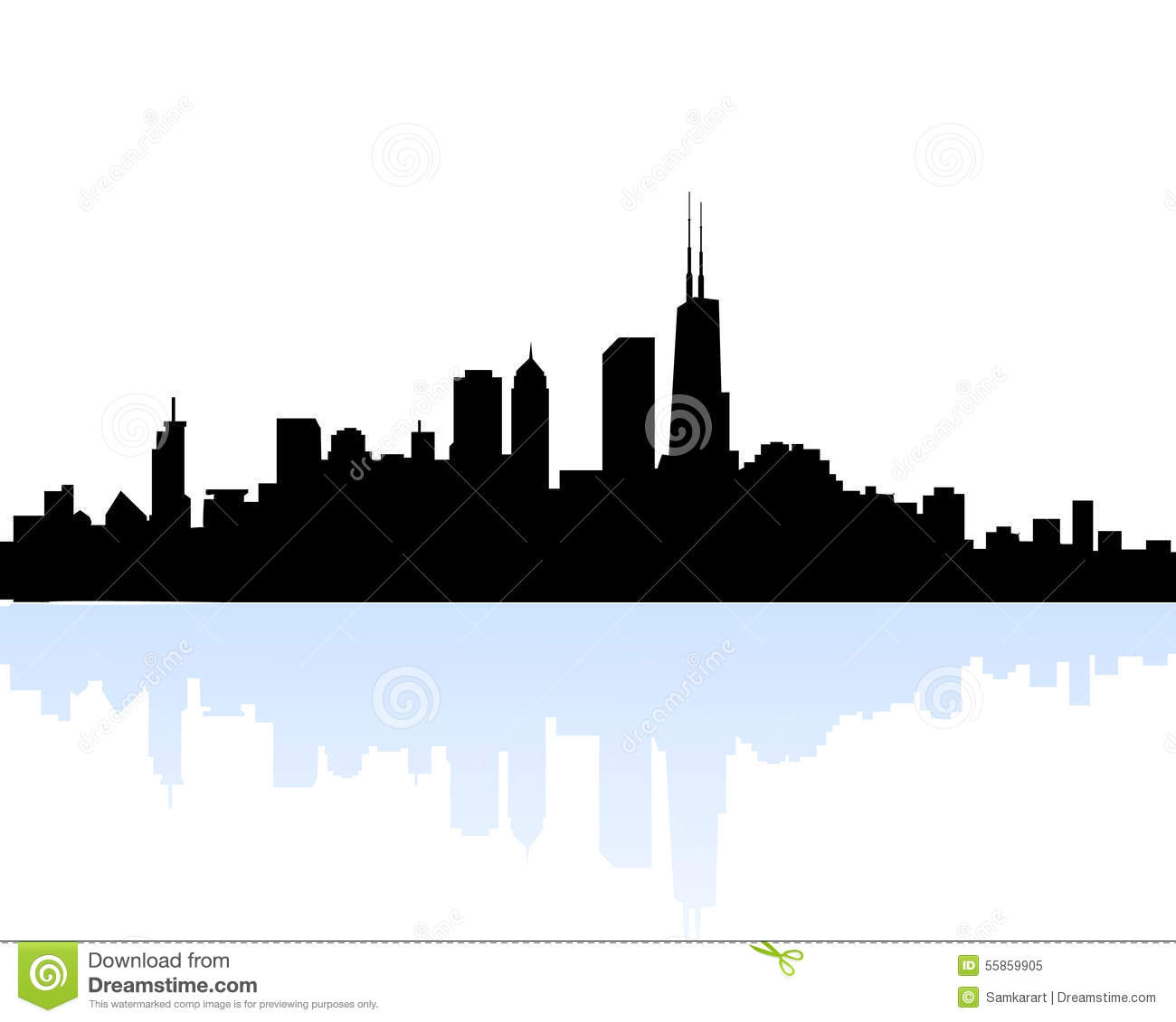 chicago morning skyline stock vector illustration of skyline 55859905 rh dreamstime com chicago city skyline vector