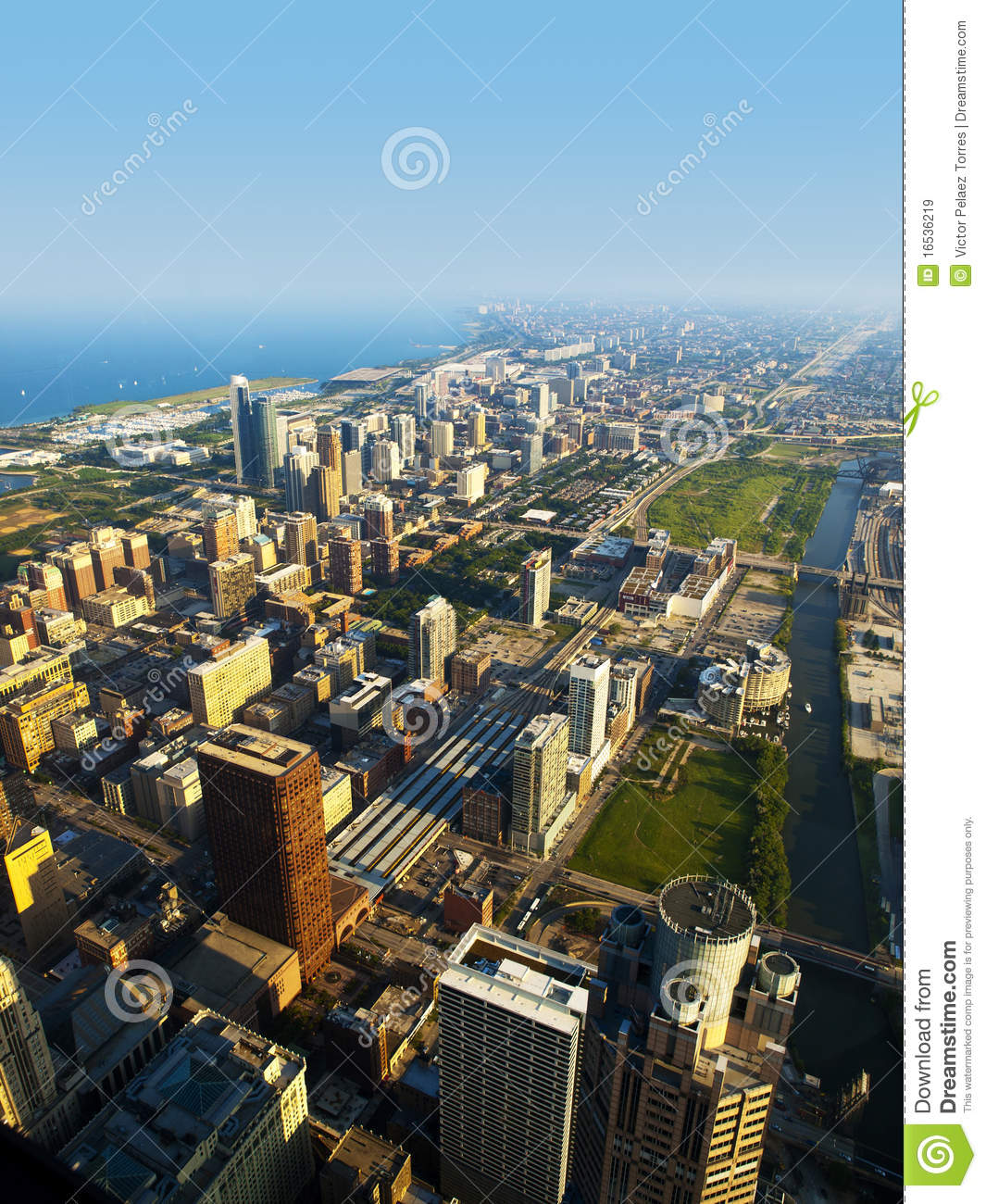 Chicago Near South Side Aerial View Stock Image