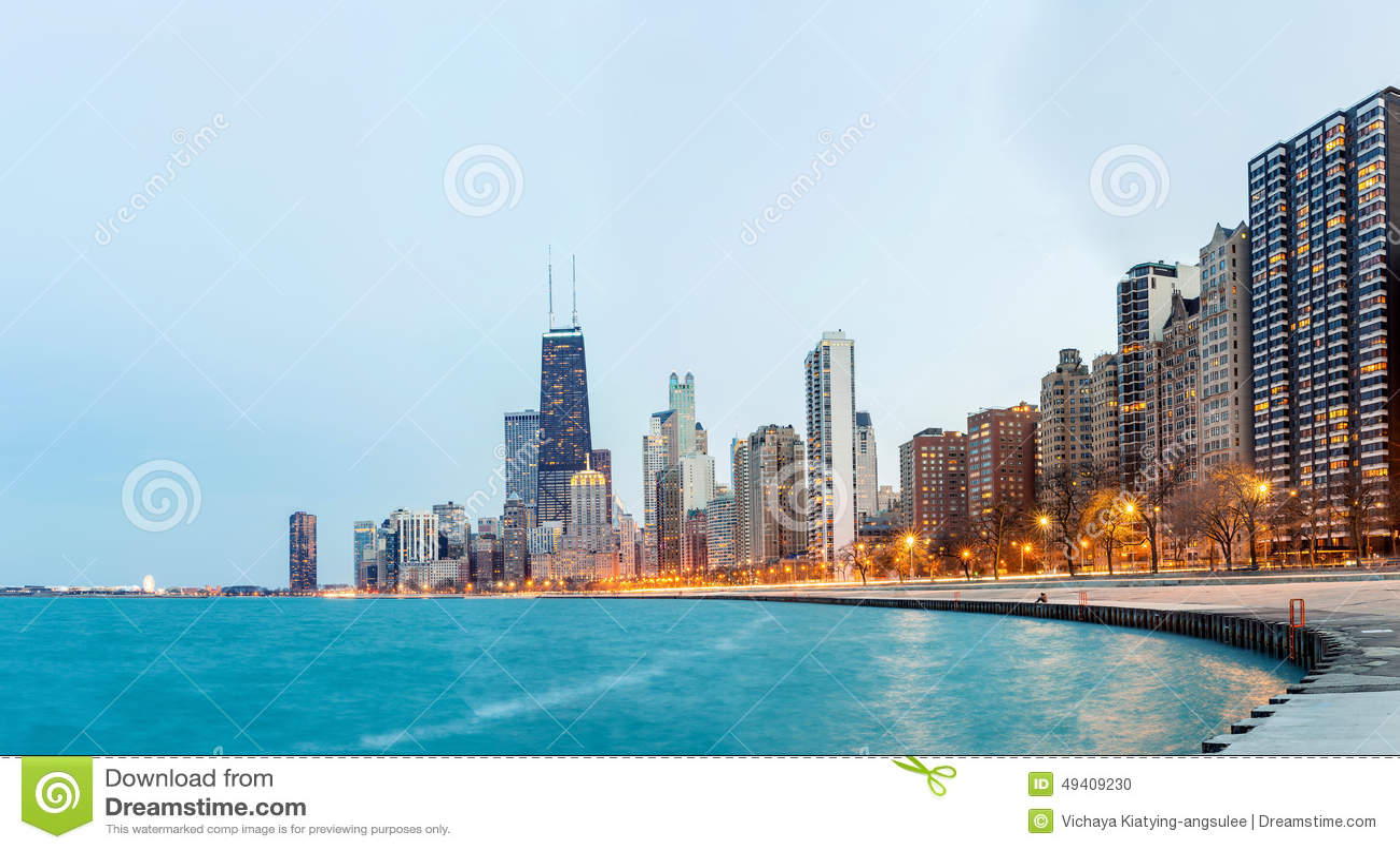 Download Chicago-Panorama-Michigansee Stockfoto - Bild von stadt, cityscape: 49409230