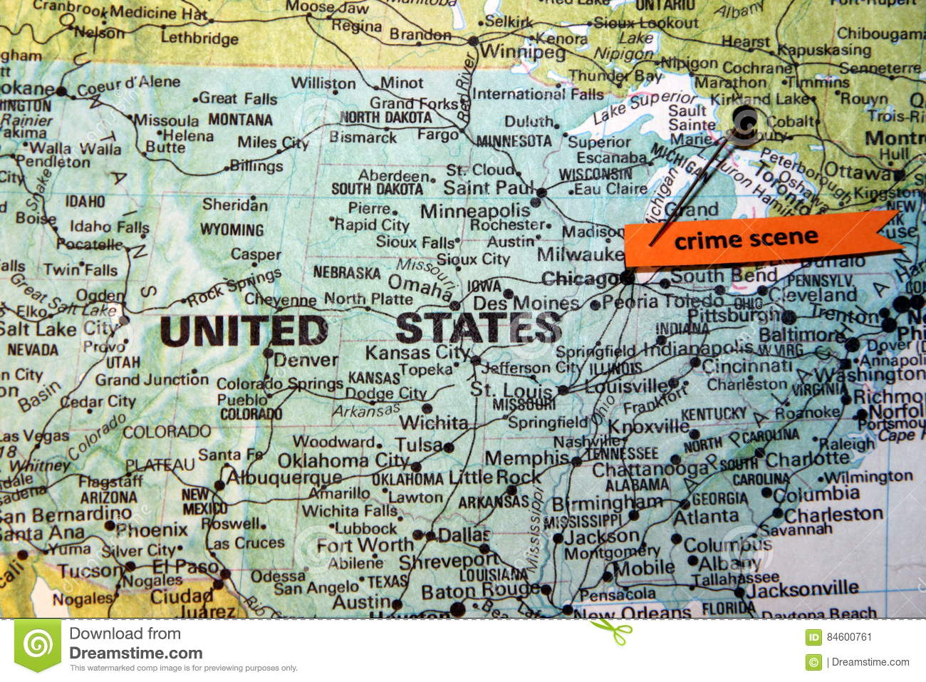 Chicago Shown As Crime Scene On U.S. Map Stock Image - Image ...