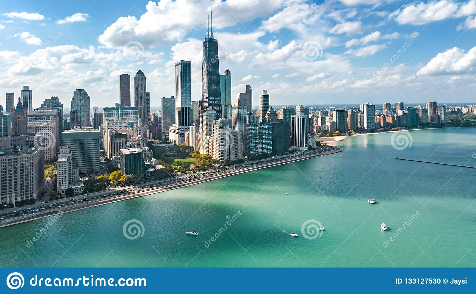 Chicago Skyline Aerial Drone View From Above Lake Michigan And City Of Chicago Downtown Skyscrapers Cityscape Illinois Usa Stock Photo Image Of Lake Midwest 133127530