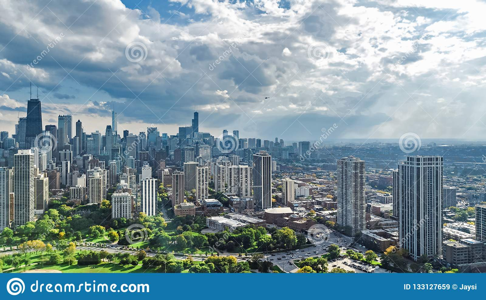 Chicago skyline aerial drone view from above, lake Michigan and city of Chicago downtown skyscrapers cityscape from Lincoln park