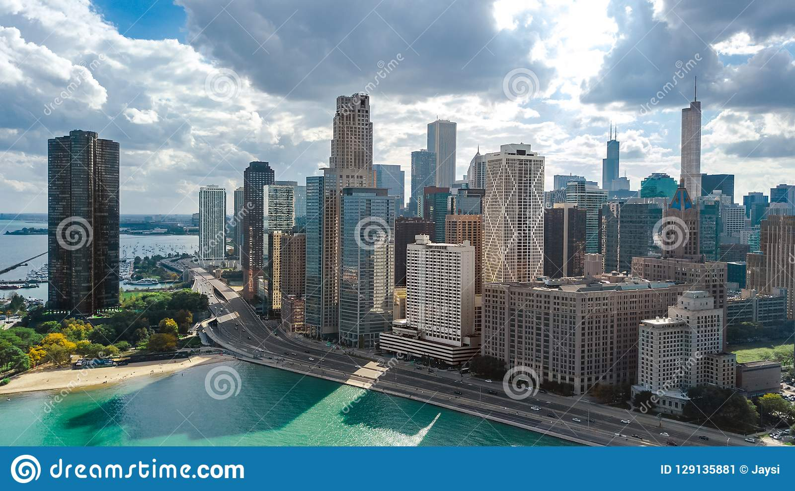 Chicago skyline aerial drone view from above, lake Michigan and Chicago downtown skyscrapers cityscape, Illinois, USA
