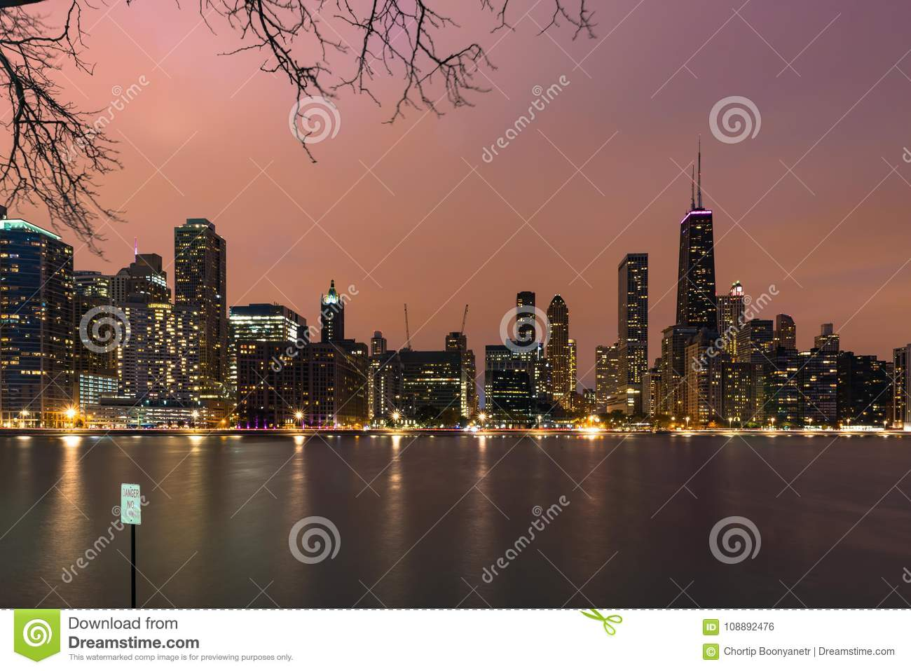 Chicago Skyline in the evening during sunset