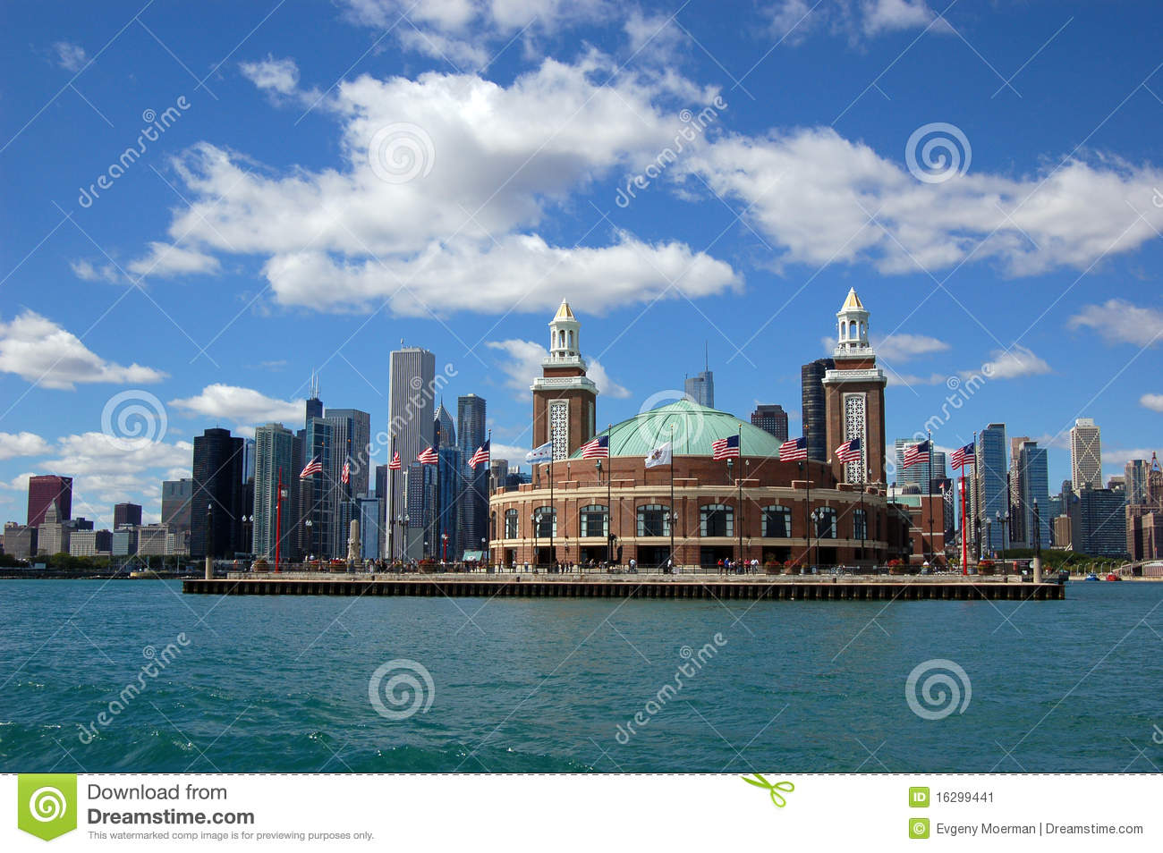 Chicago Skyline With Navy Pier Stock Image Image - Chicago map navy pier