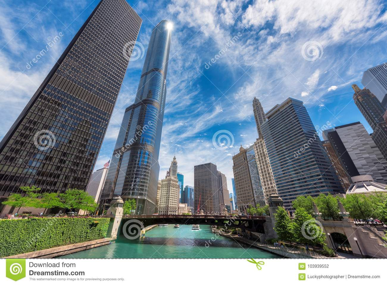 Chicago Skyline, skyscraper and river at sunny day