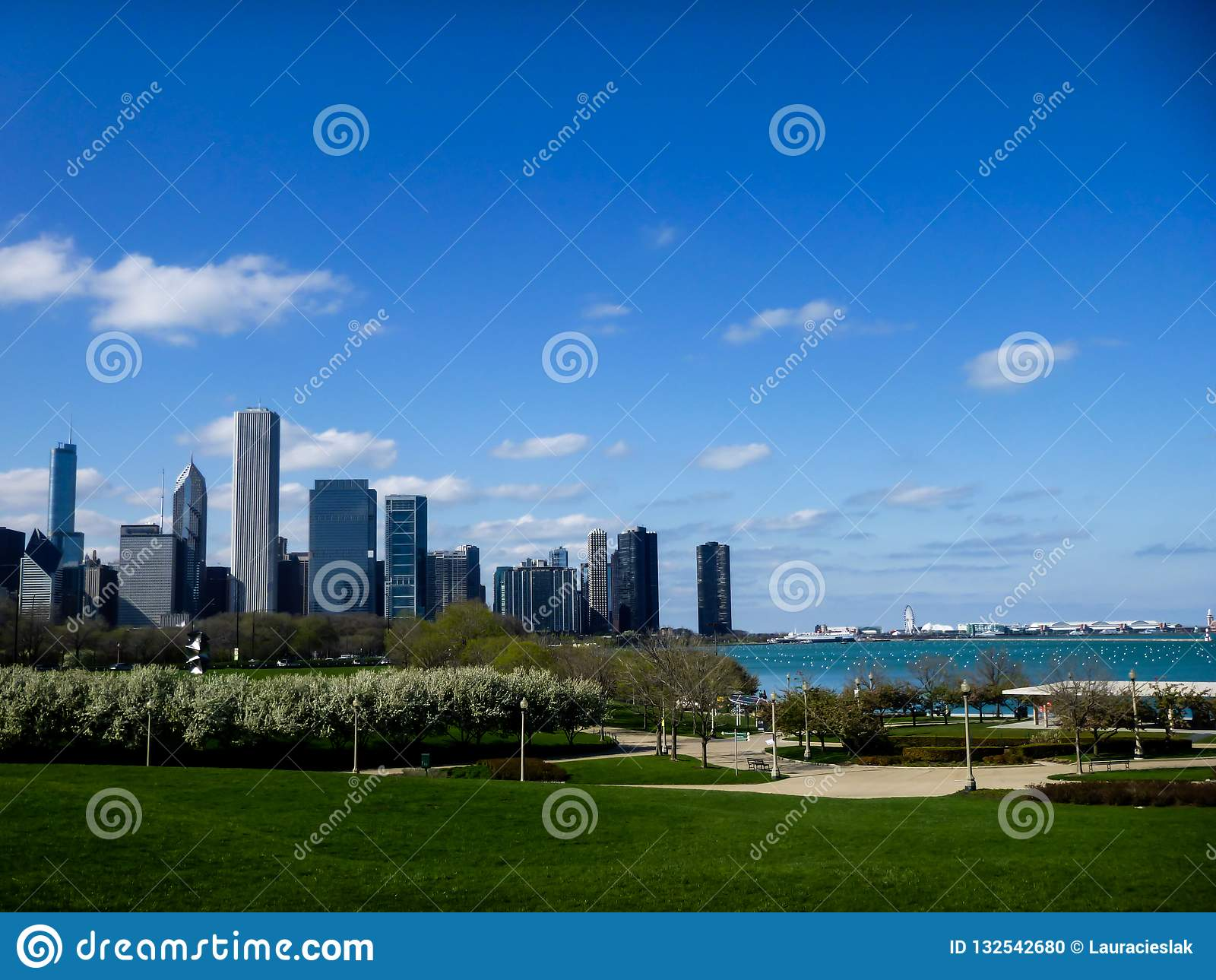 Chicago-Skyline und Grant Park
