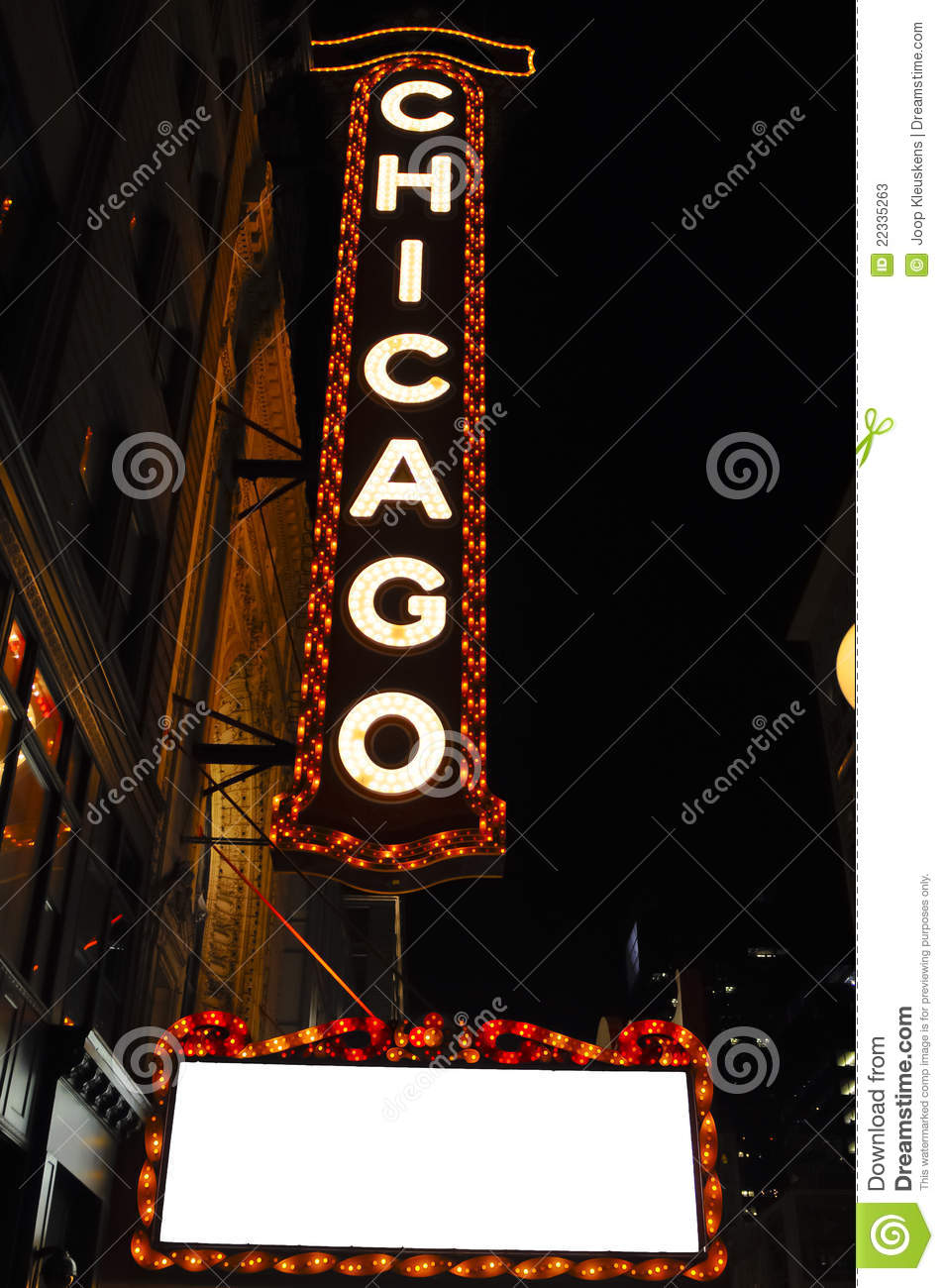 Chicago Theatre Sign At Night Stock Photos Image 22335263