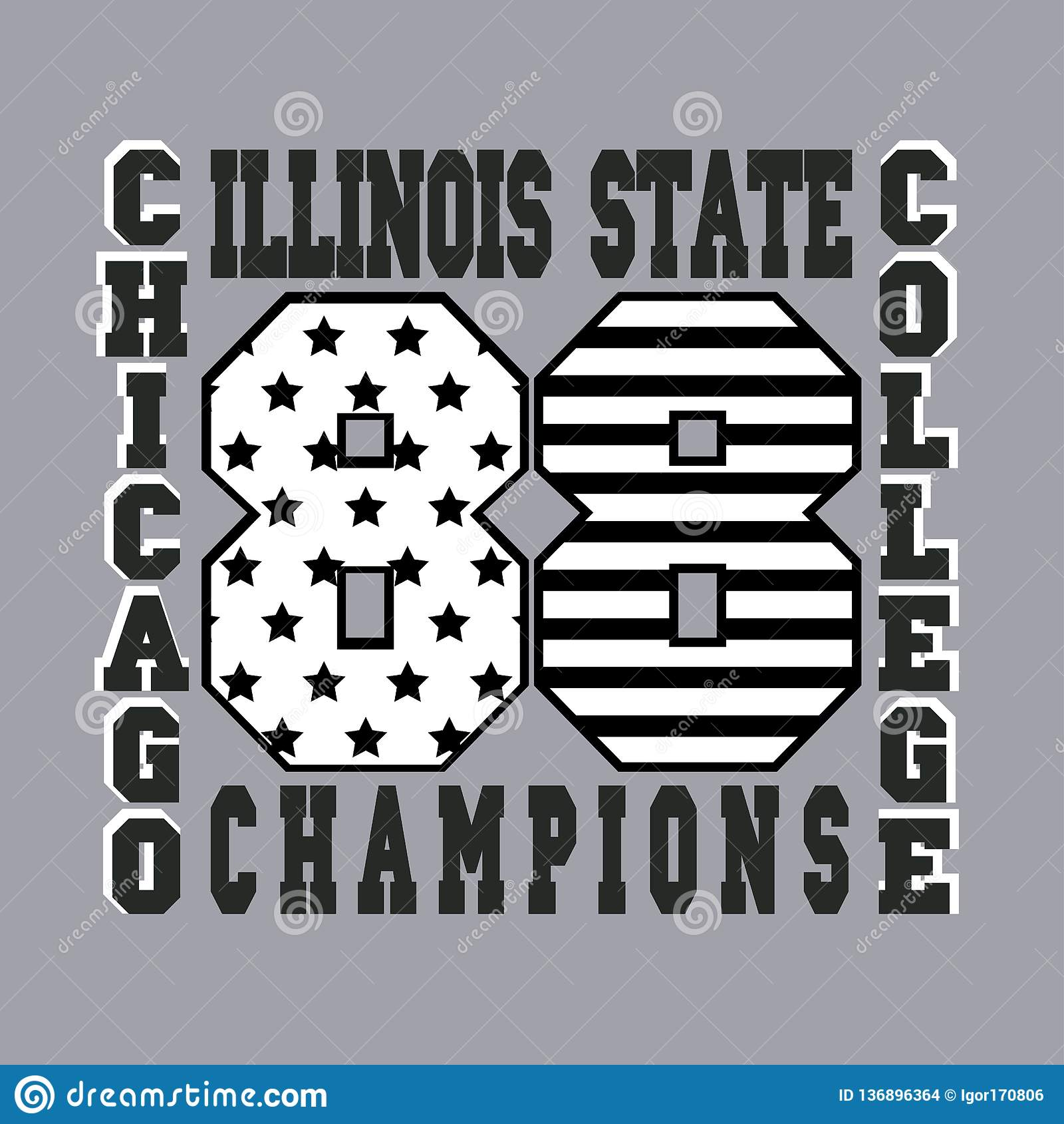 b08bccf9 Chicago typography, graphics t-shirt, printing design, illinois original  wear, vintage fashion