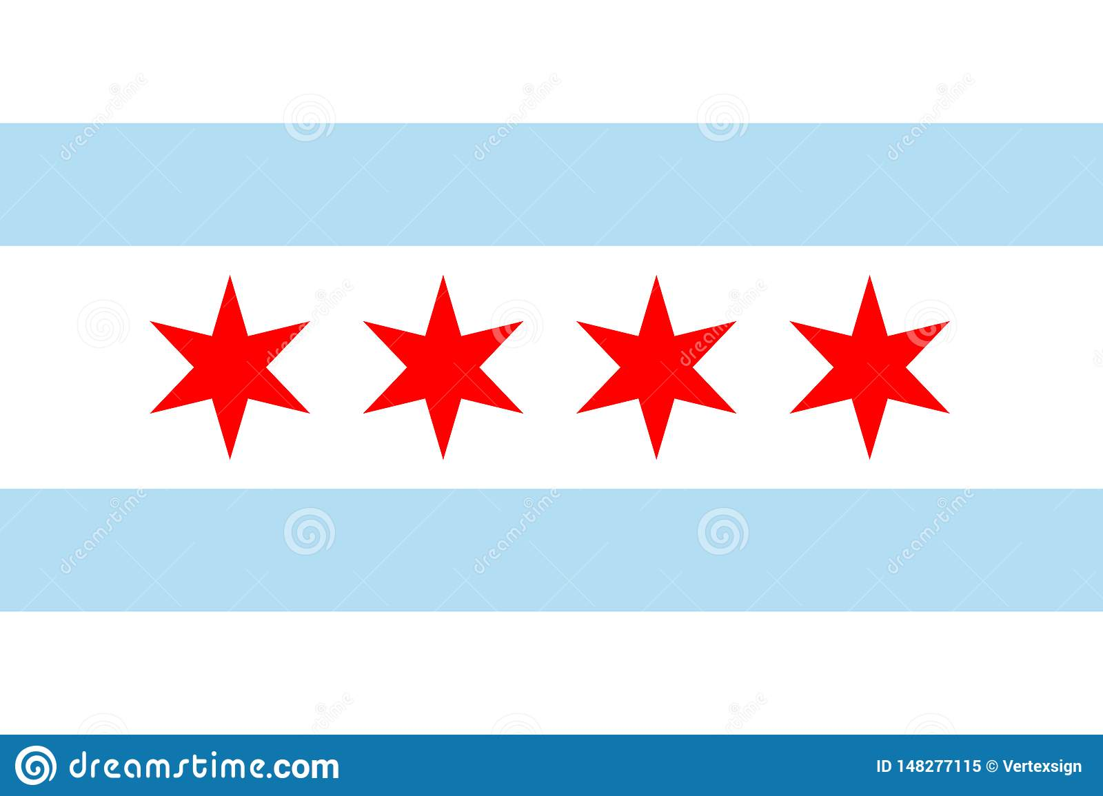 Vector flag of Chicago, Illinois. United States of America